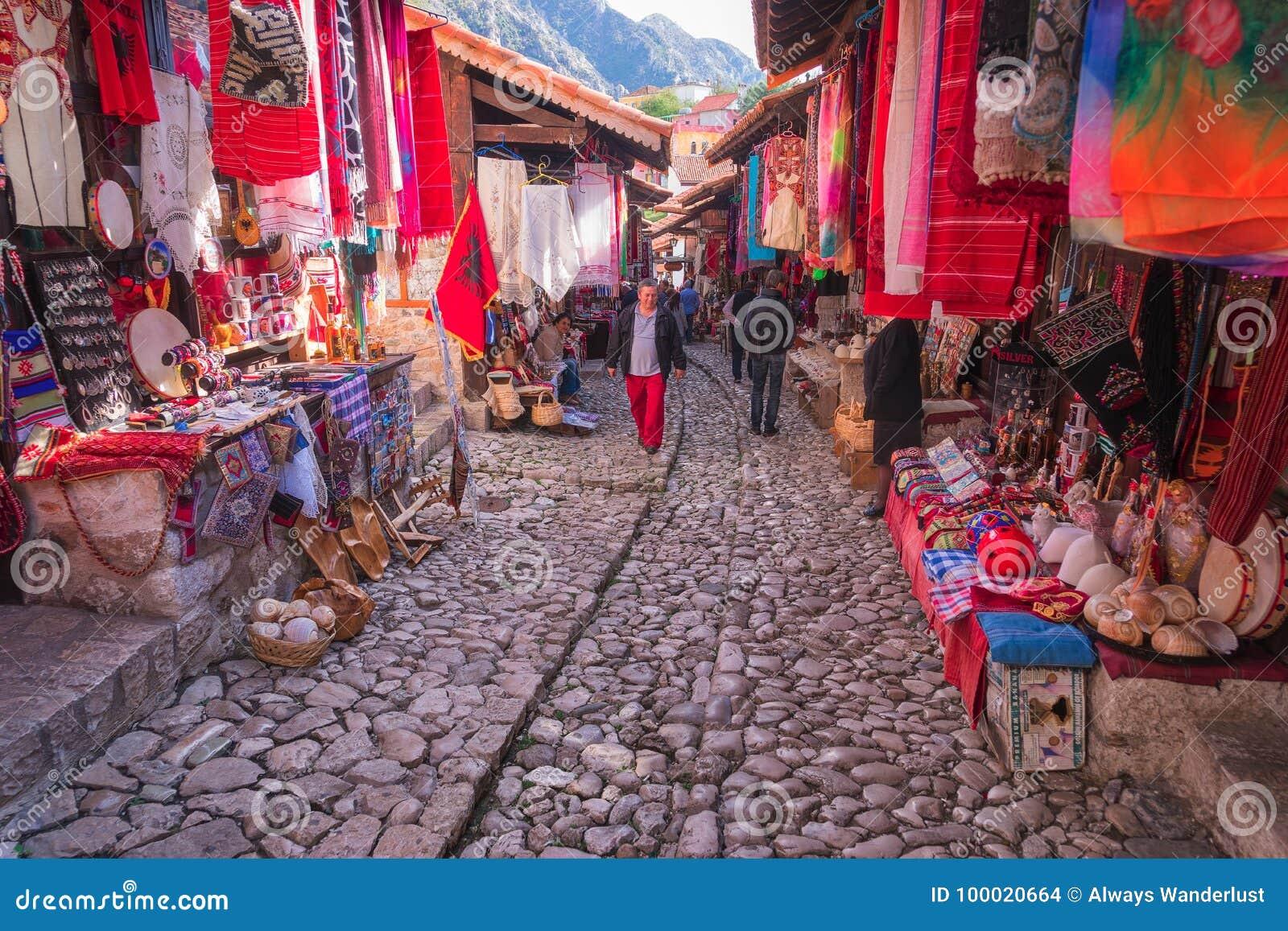 De Stad van Kruje in Albanië