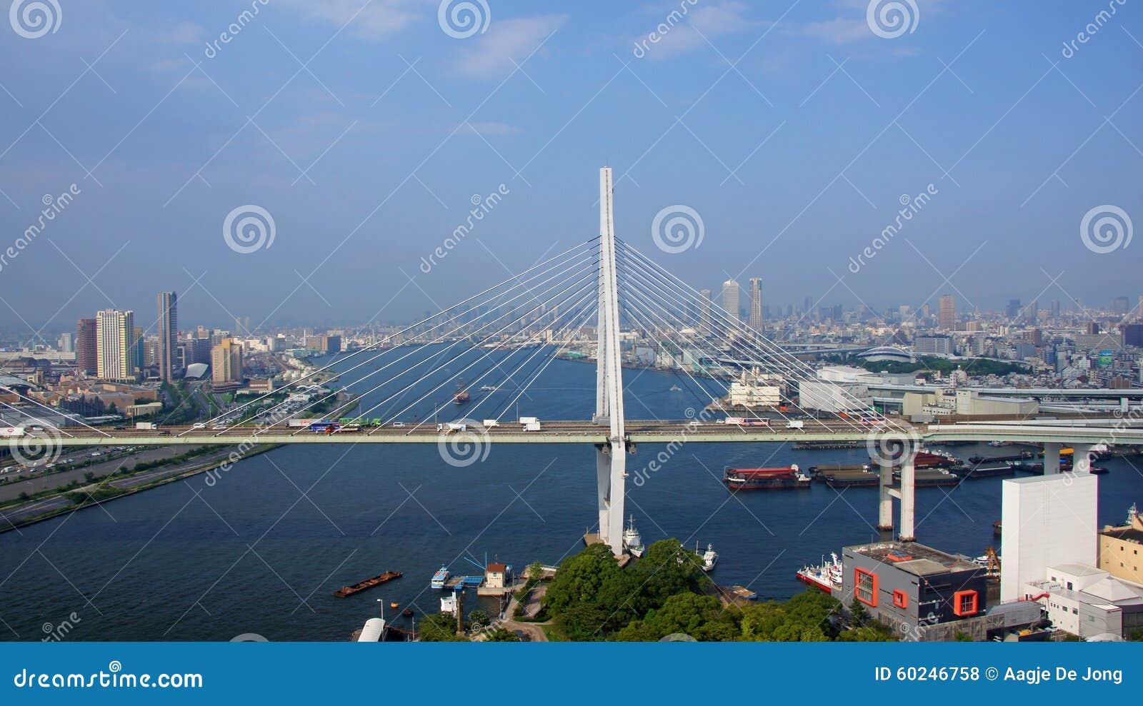 De stad van Osaka panorame in Japan