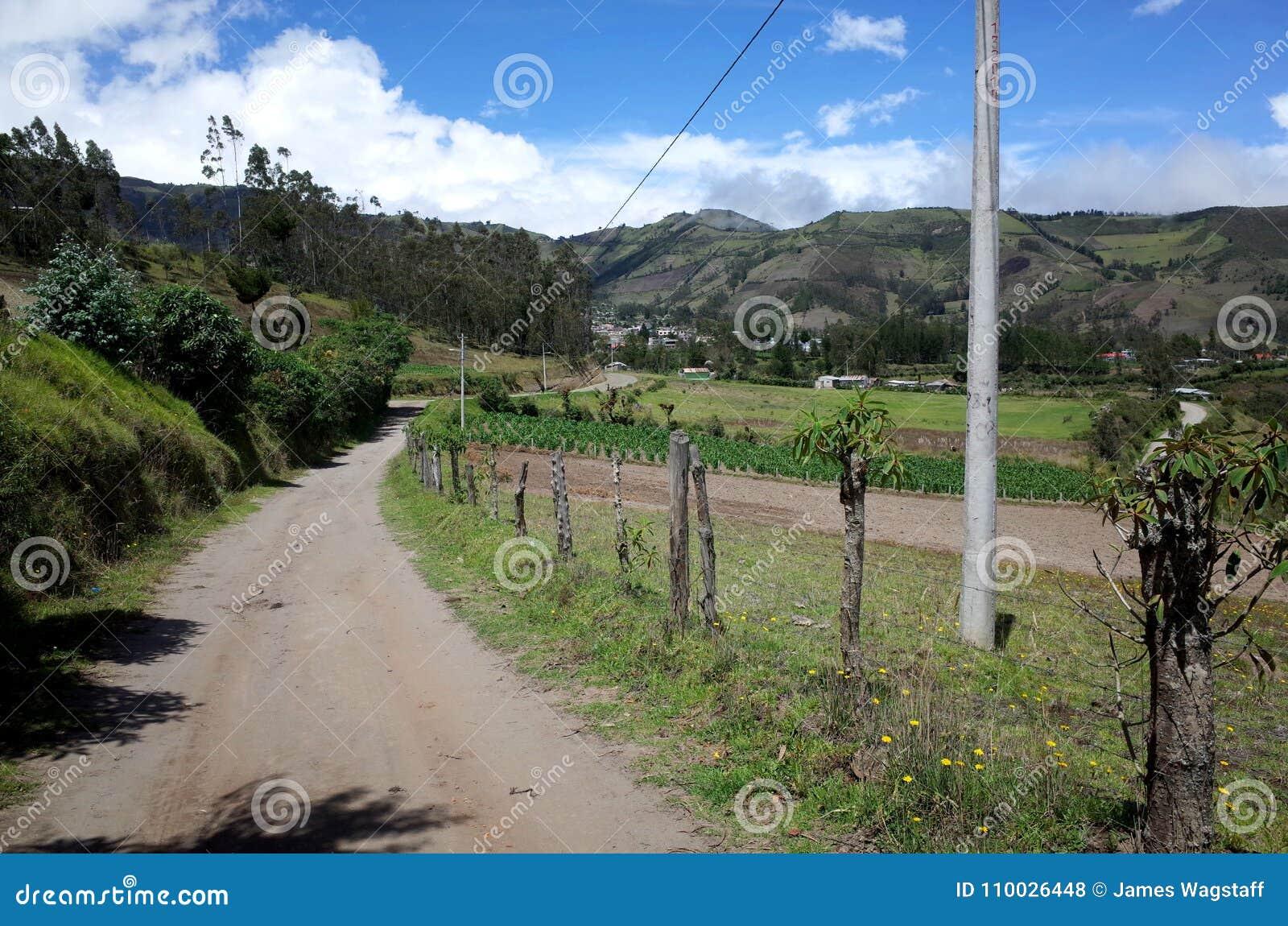 De stad van Sigchos die door op de Quilotoa-Lijn wordt overgegaan