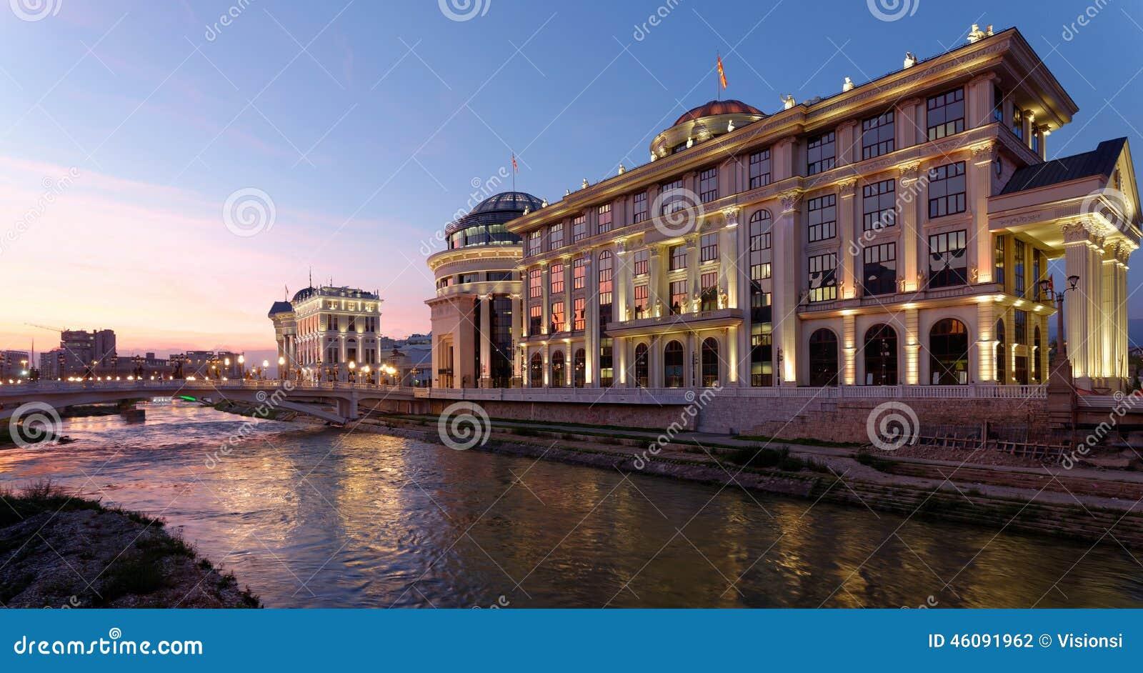De stad in van Skopje, Macedonië