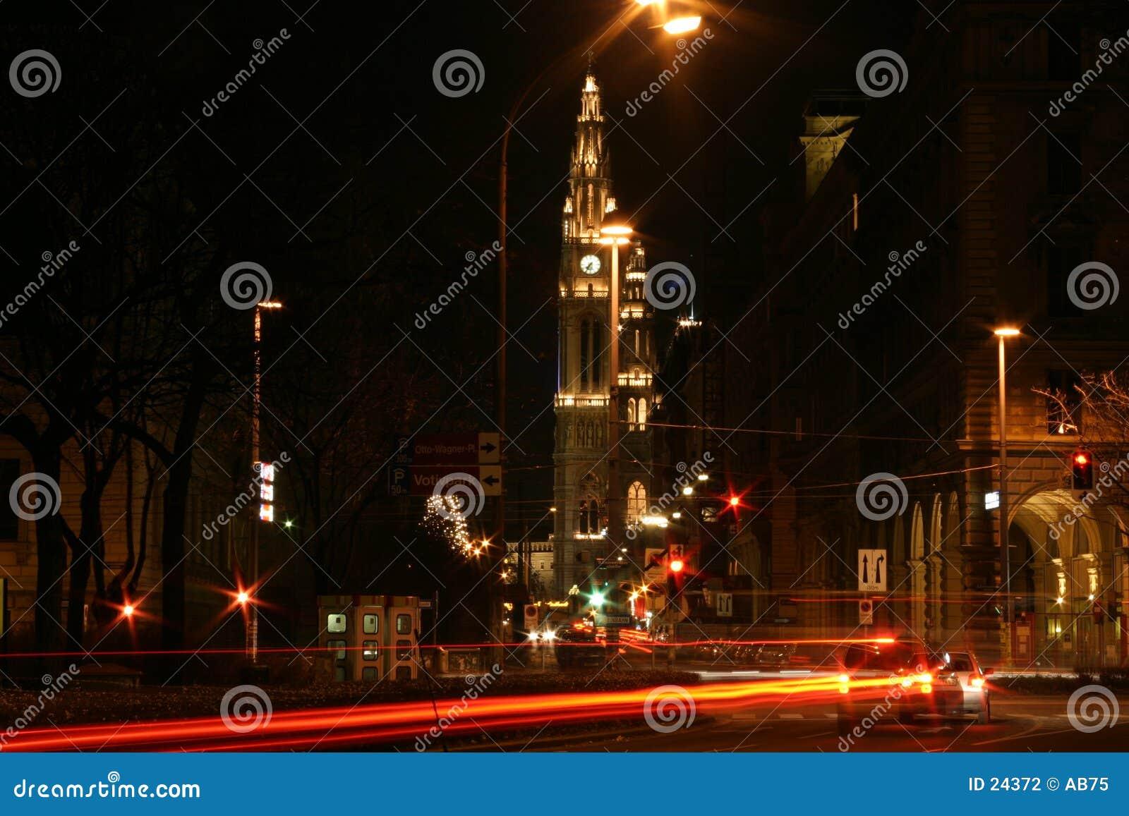 De Stad Wenen van de nacht