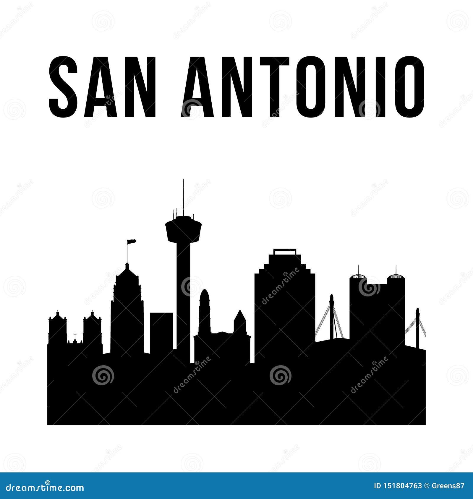 De stads eenvoudig silhouet van San Antonio
