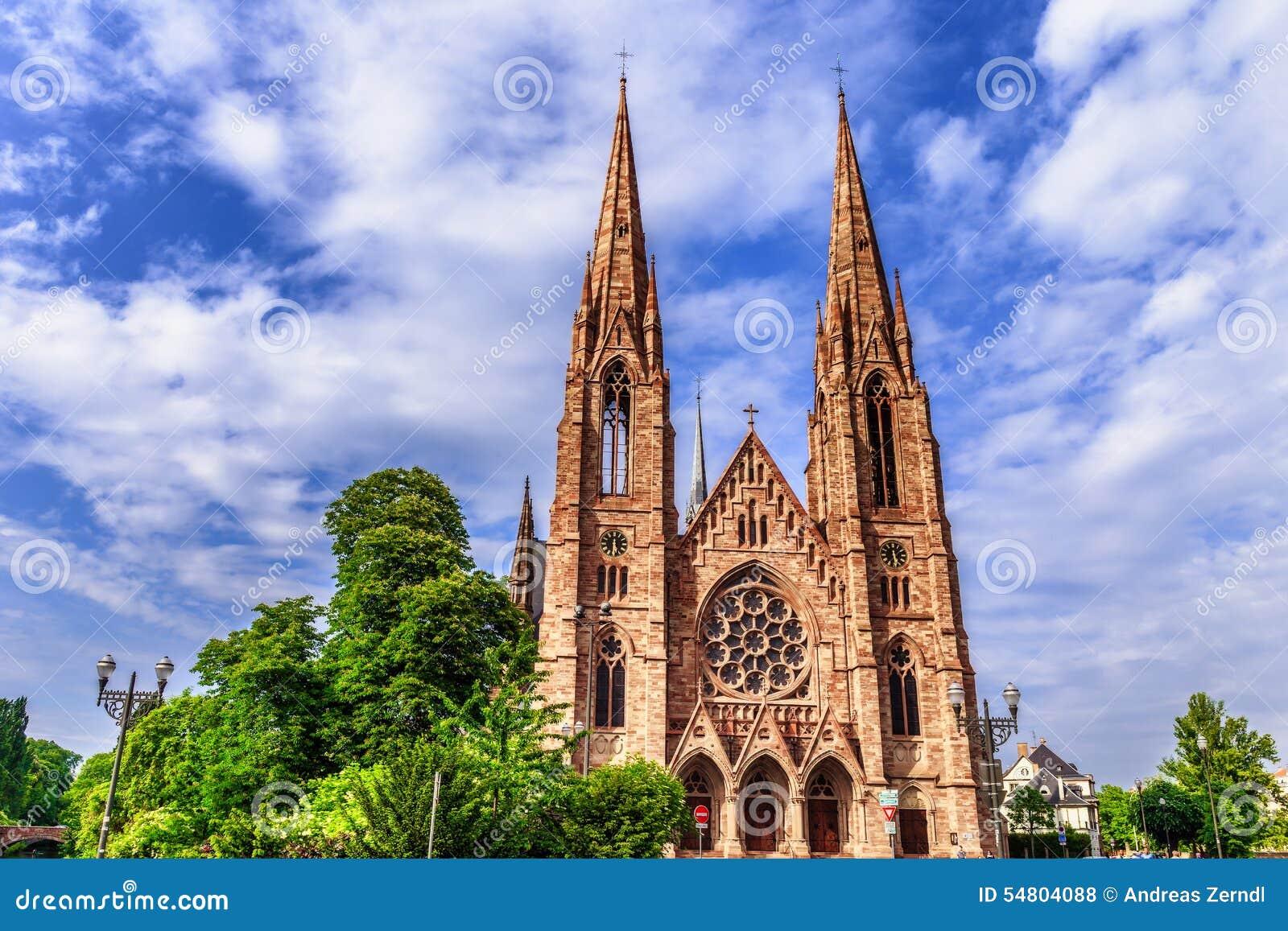 De Stads Middeleeuwse Protestantse Kerk van Straatsburg