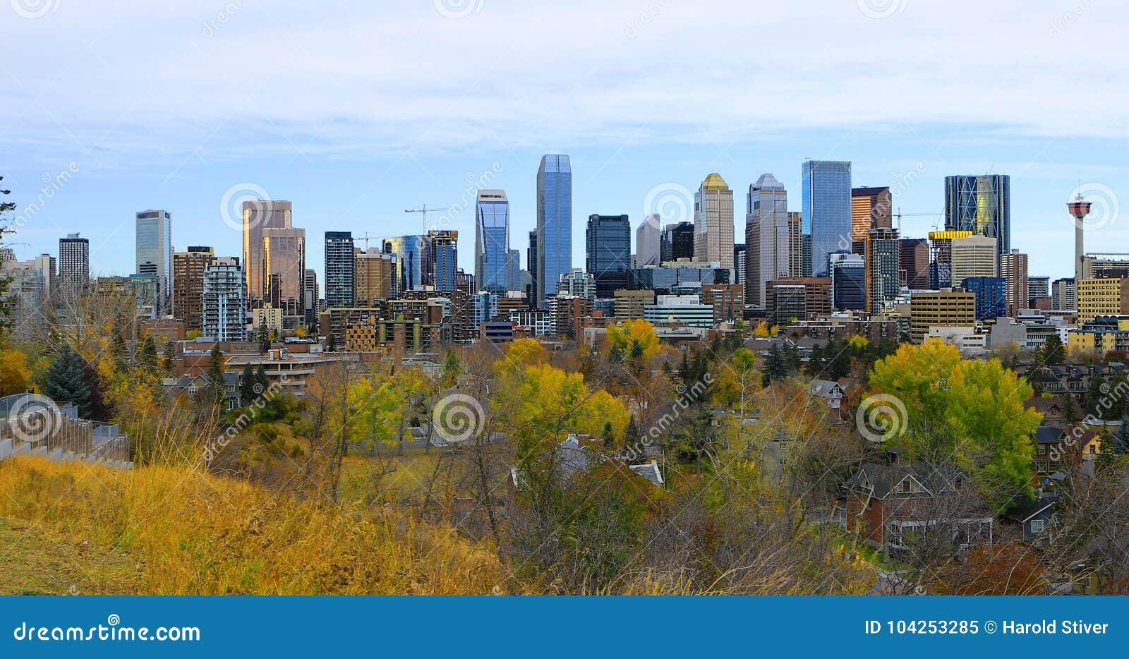 De stadscentrum van Calgary, Canada met kleurrijke dalingsbladeren