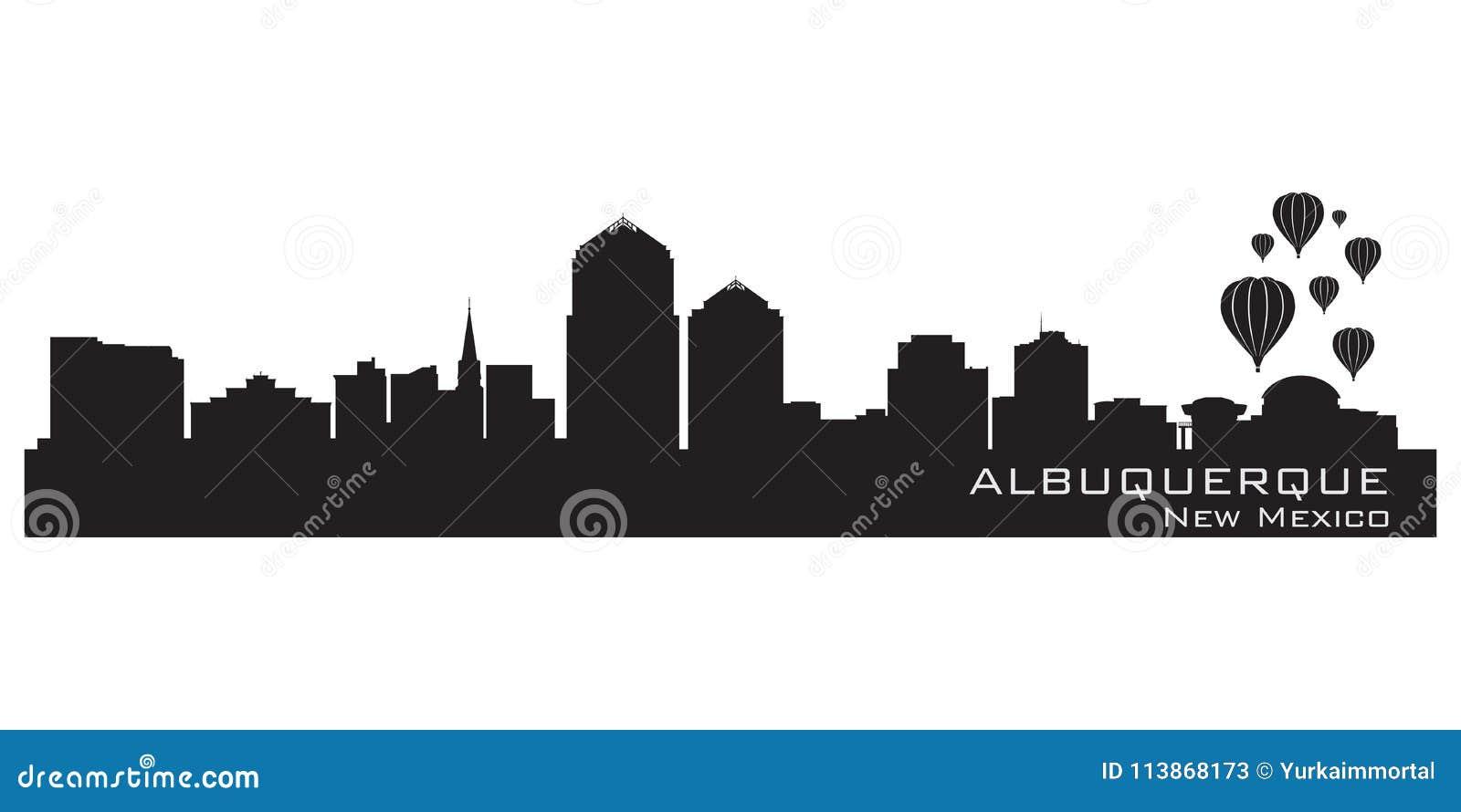 De stadshorizon van Albuquerque, New Mexico Gedetailleerd silhouet