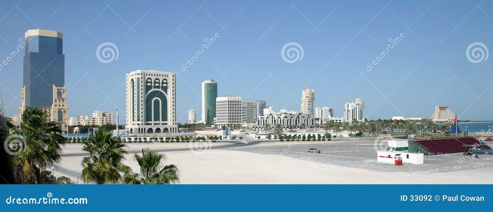 De stadshorizon van Doha