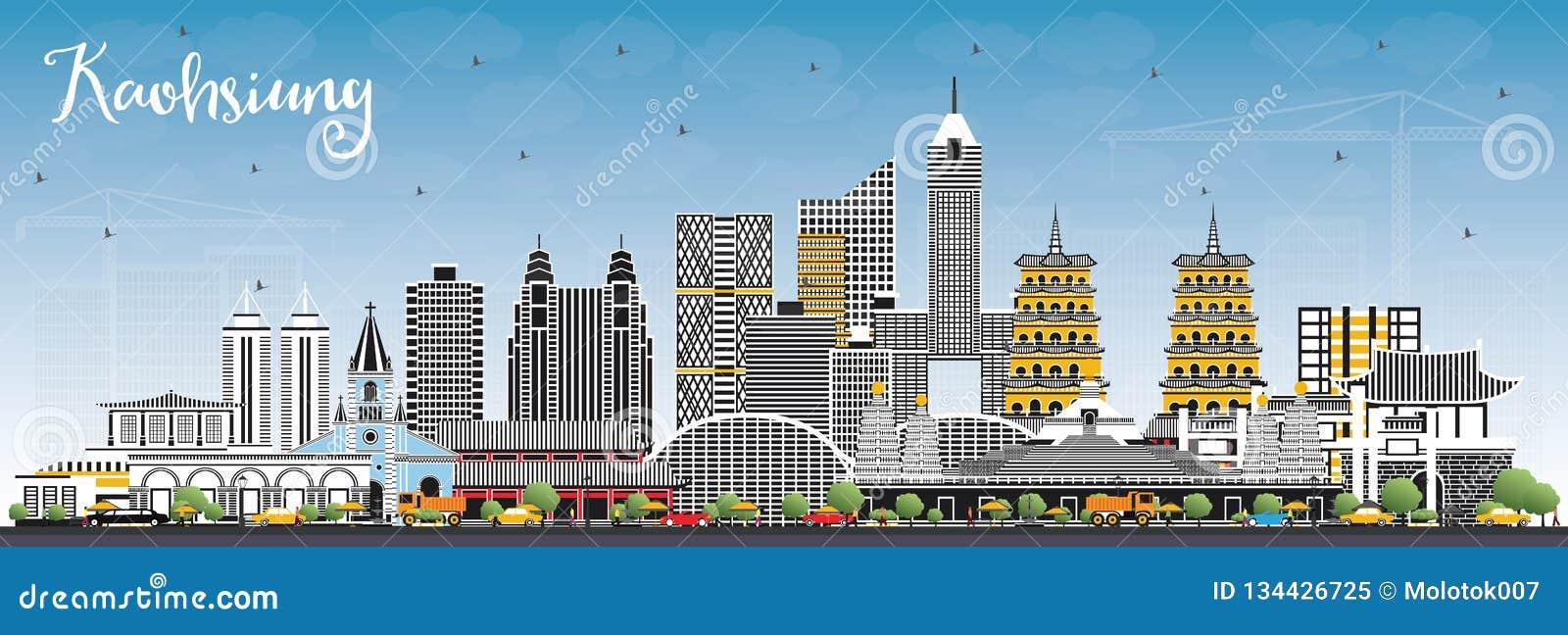 De Stadshorizon van Kaohsiungtaiwan met Gray Buildings en Blauwe Hemel