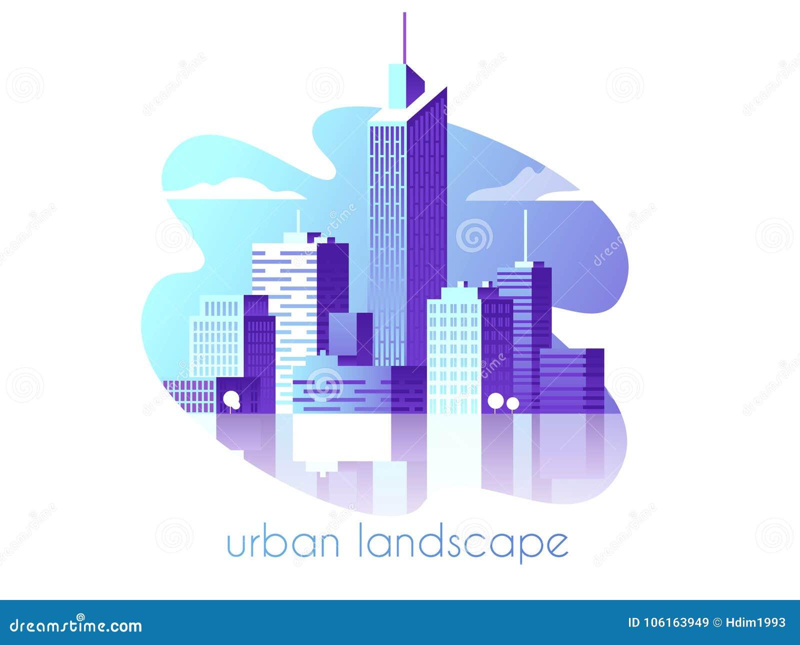 De stadslandschap van de nacht Moderne architectuur, gebouwen, wolkenkrabbers Vlakke vectorillustratie 3d stijl