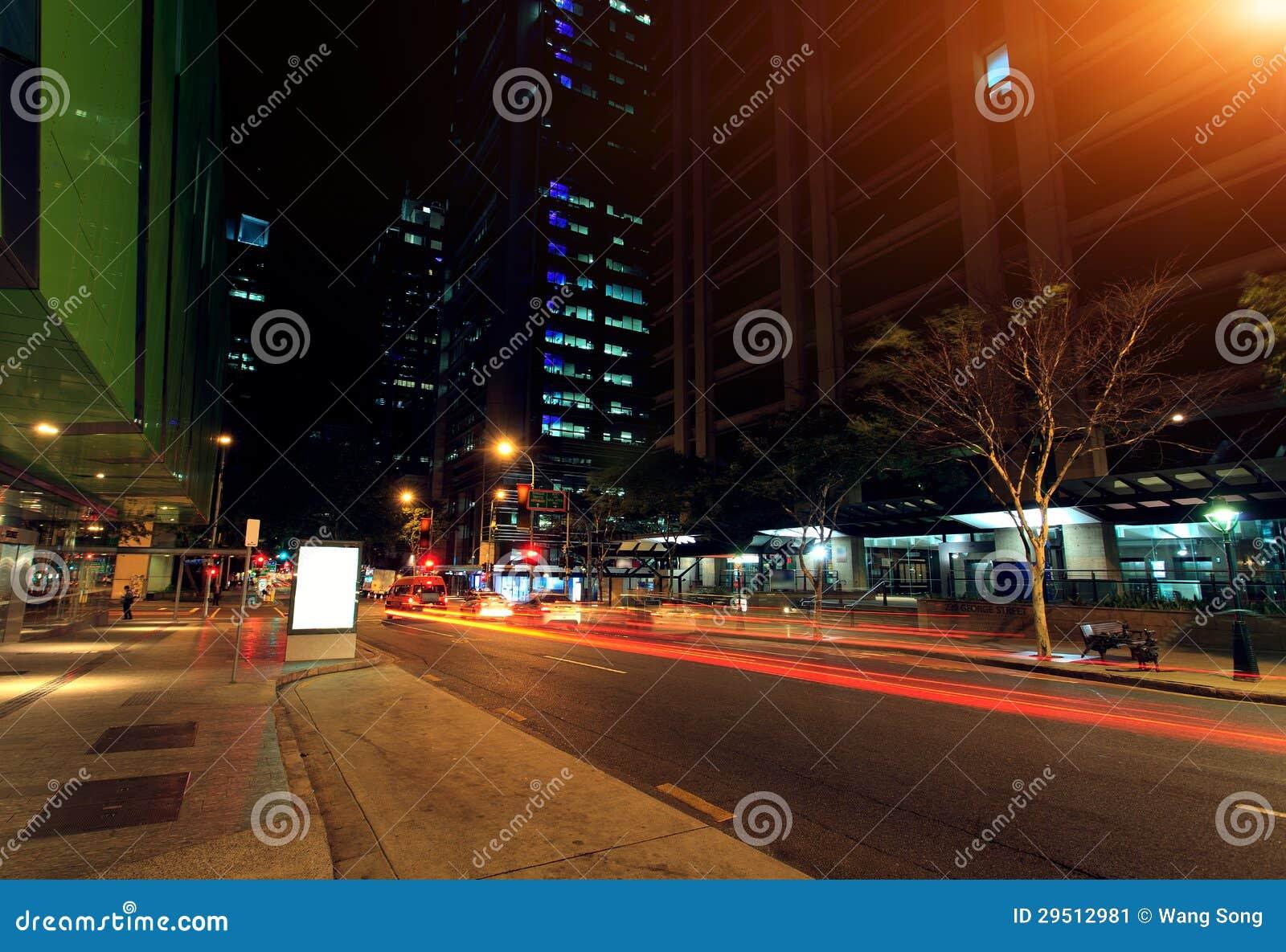De stadsnacht van Brisbane