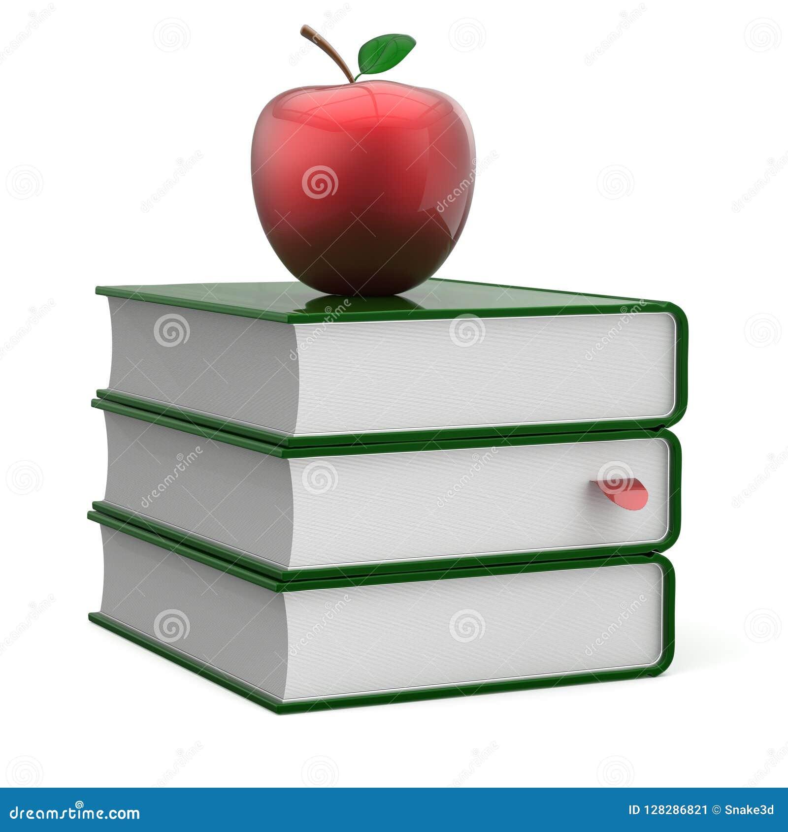 De stapel groene lege referentie van het boekenhandboek en rode appel