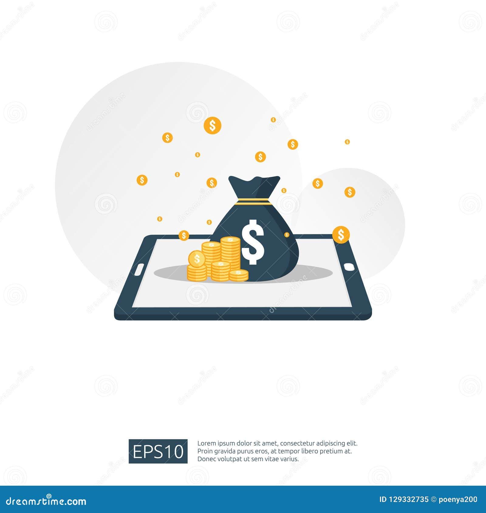 De stapel van de dollarstapel en geldzak op smartphone het concept voor handelsinvesteringen, digitale mobiele portefeuille, Inte