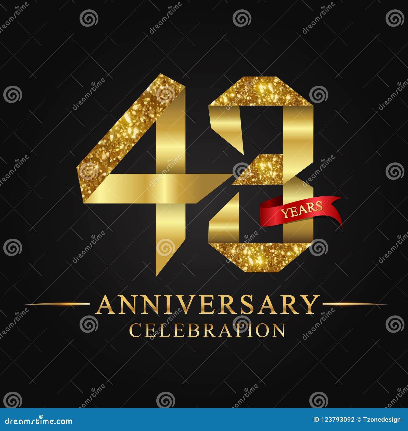 De 43ste viering van verjaardagsjaren logotype Het gouden aantal van het embleemlint en rood lint op zwarte achtergrond