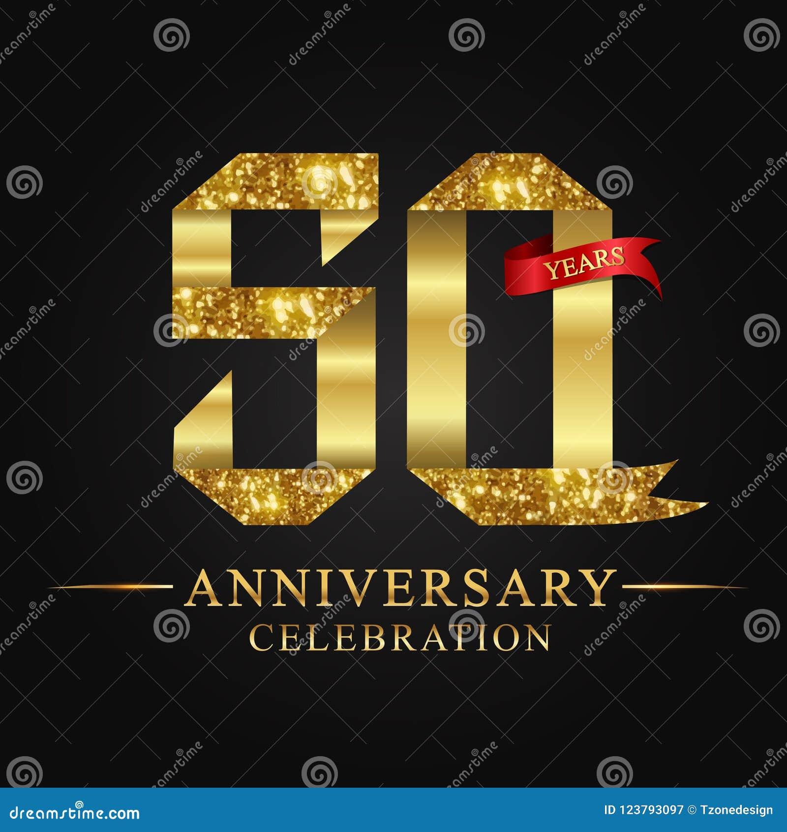 De 50ste viering van verjaardagsjaren logotype Het gouden aantal van het embleemlint en rood lint op zwarte achtergrond