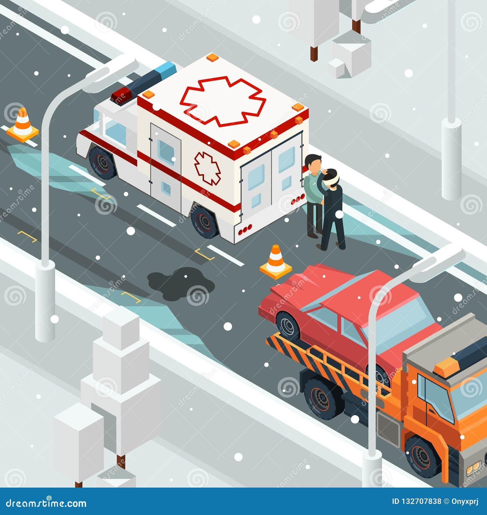 De stedelijke auto s van de ongevallenneerstorting De winterwaarschuwing op isometrisch het wrak automobiel vectorlandschap van d