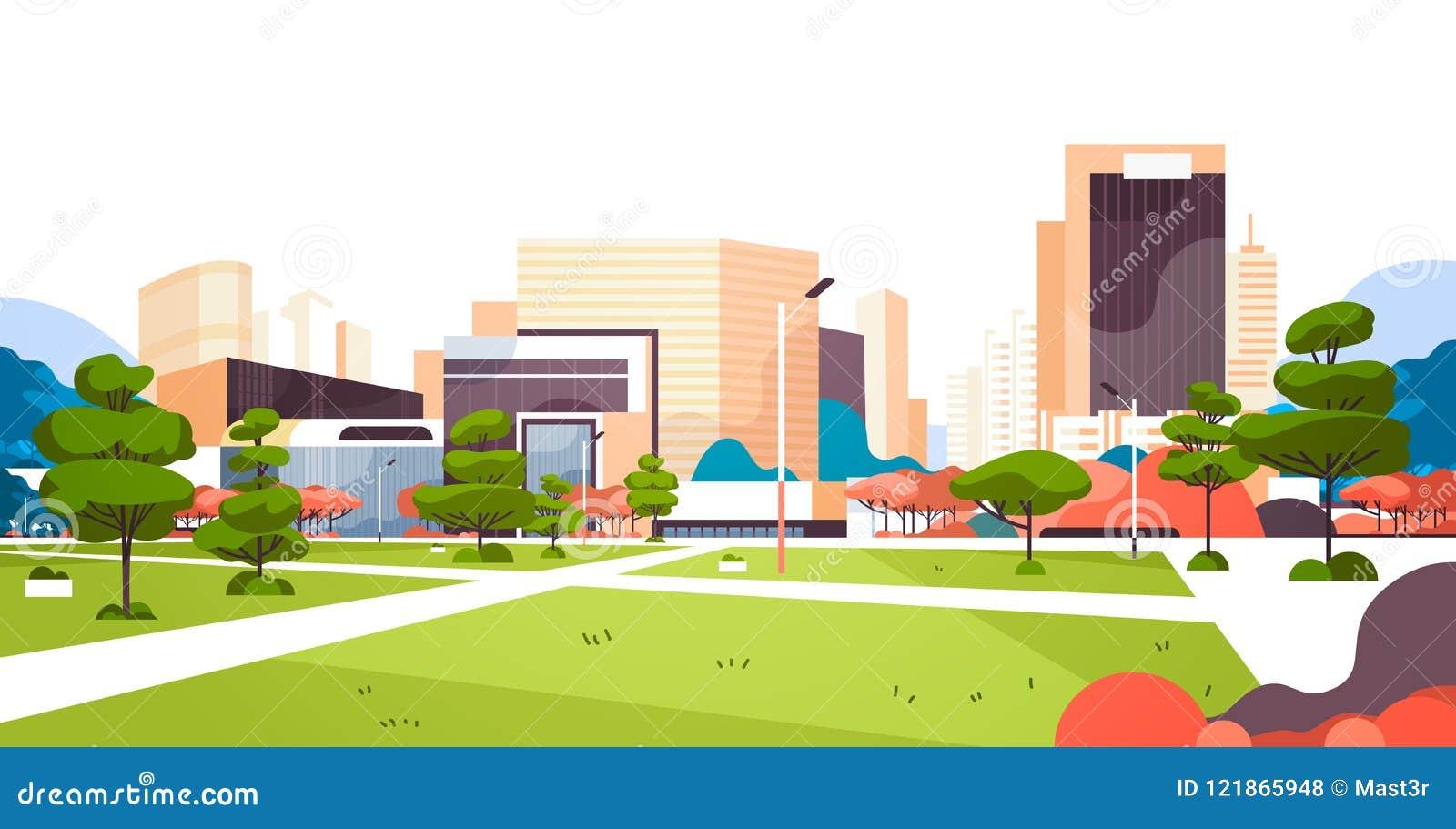 De stedelijke de wolkenkrabbergebouwen van het stadspark bekijken moderne de stad in vlak horizontaal cityscape
