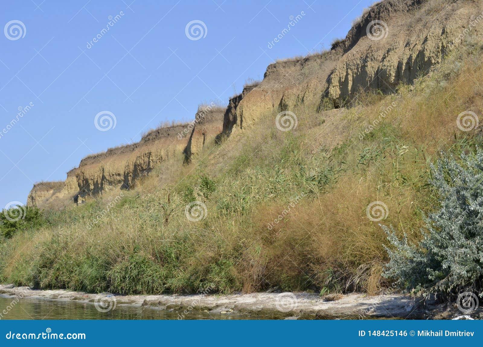 De steile bank van de rivier Gang op een de zomerdag Onderaan omhoog