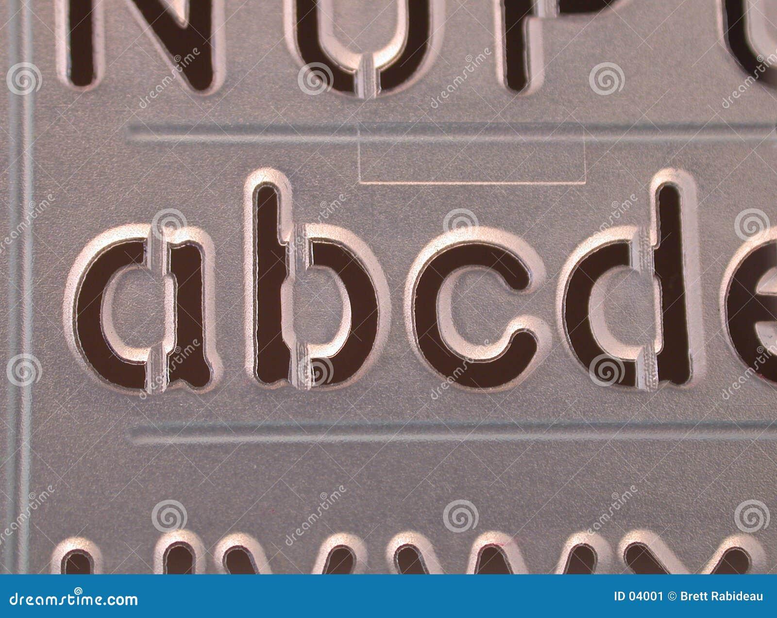 De stencil van Abcd