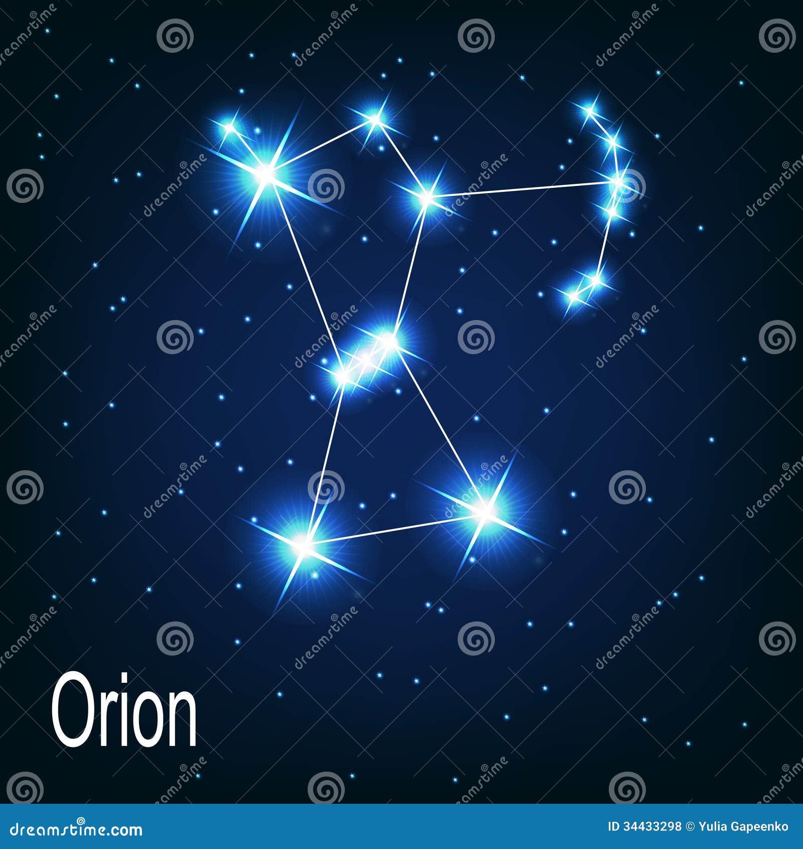 De ster van constellatieorion in de nachthemel.
