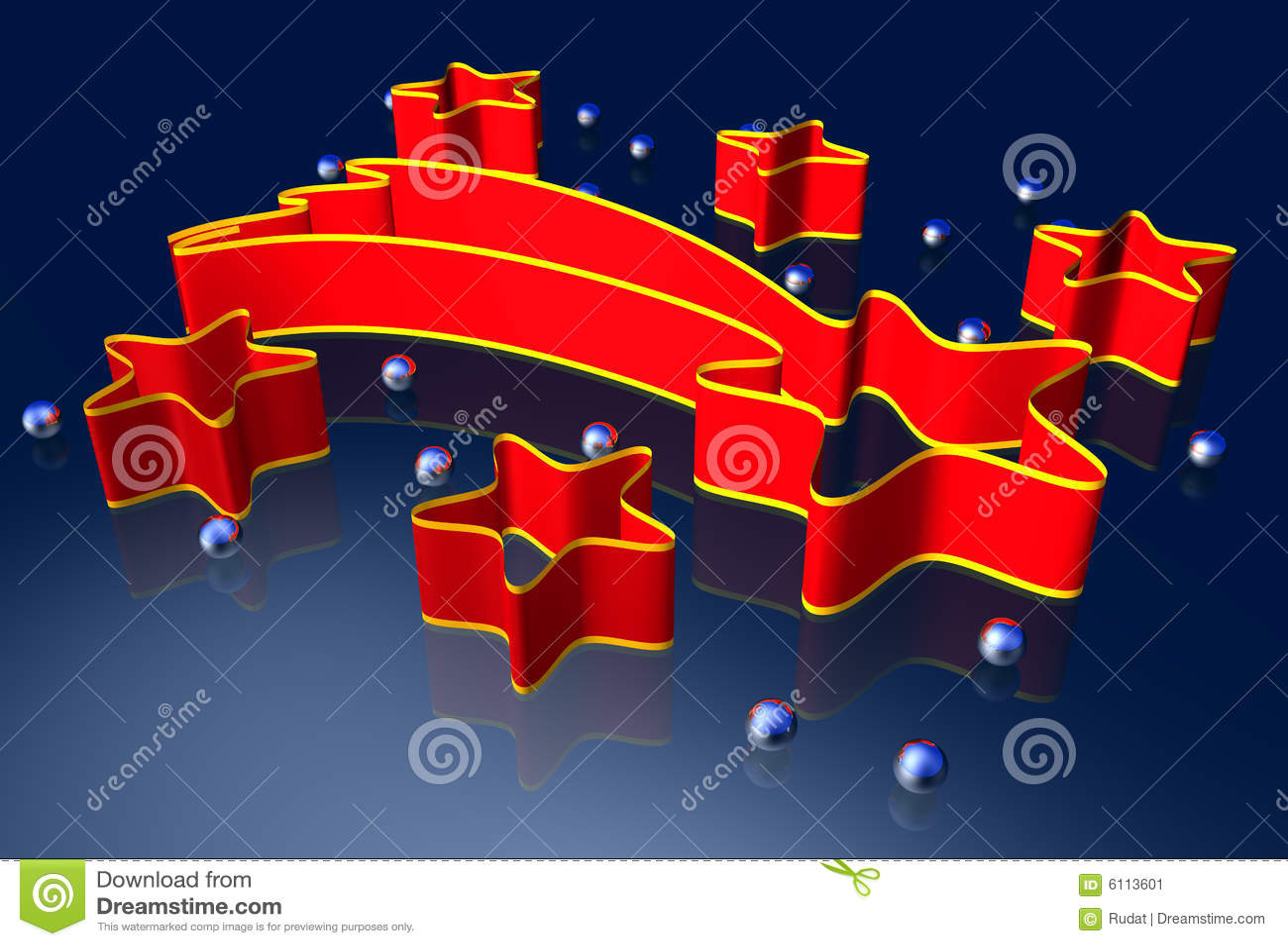 3d rode sterren van lintkerstmis met zilveren parels