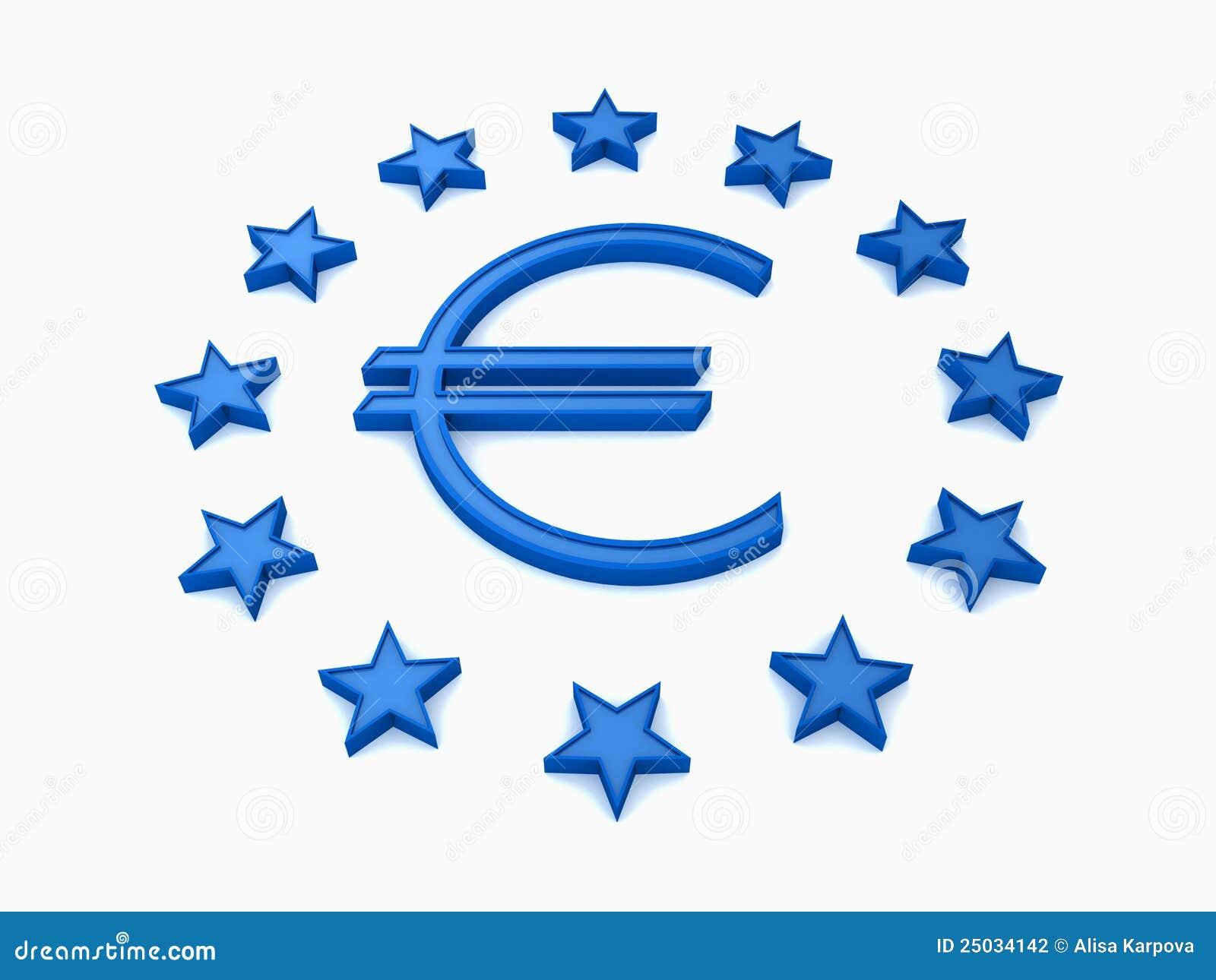 De Sterrenronde Van De EU Met Blauw Euro Teken Op Wit ...