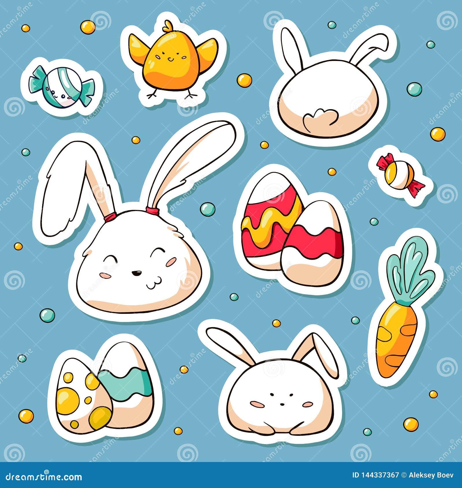 De stickers van de lentepasen in krabbelstijl die worden geplaatst Vectorhand getrokken Illustratie met beeldverhaalkarakters Inz