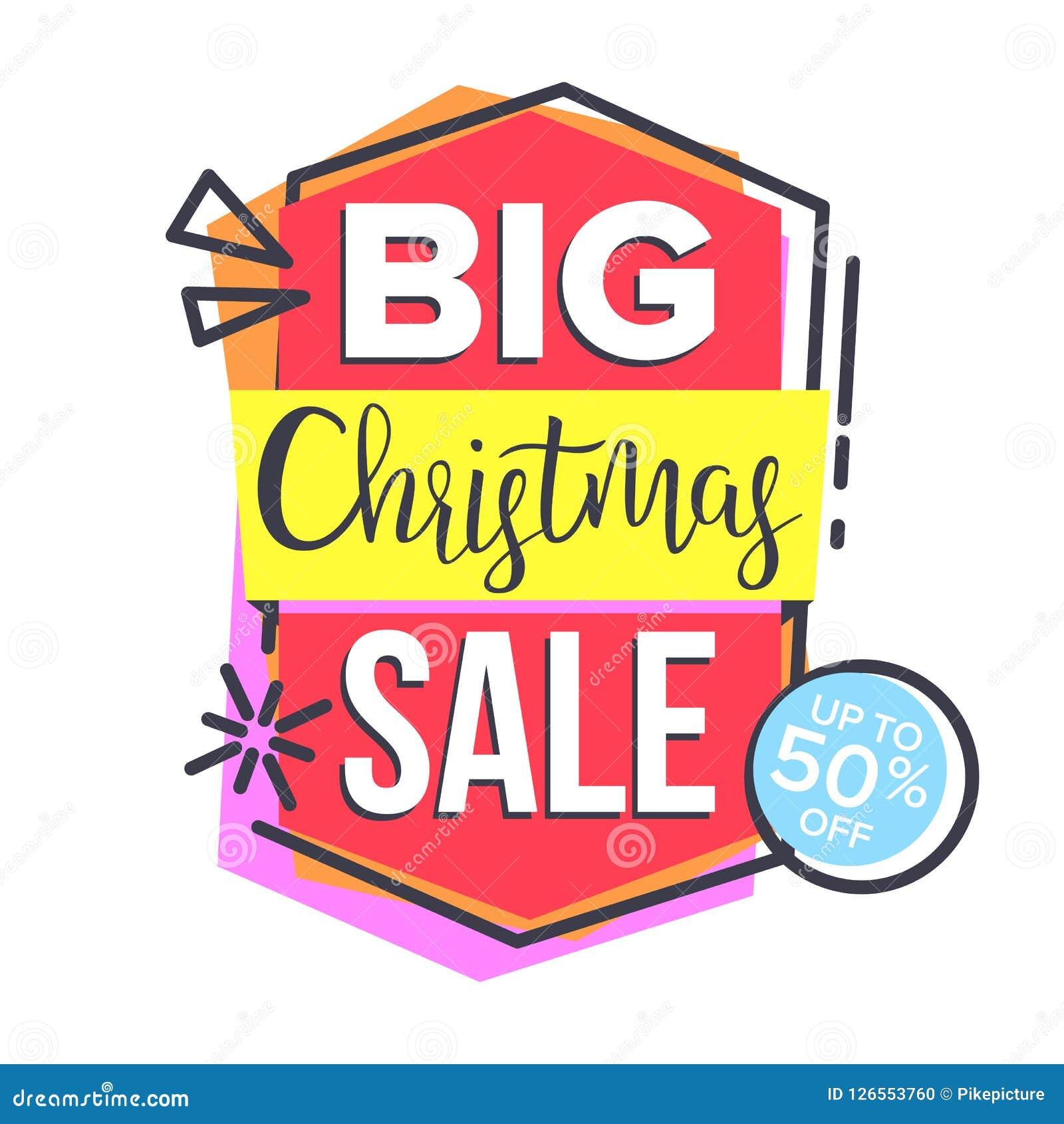 De Stickervector van de Kerstmisverkoop Het winkelen concept goedkoop teken Kortingsmarkering, Speciale aanbiedingbanner Geïsolee