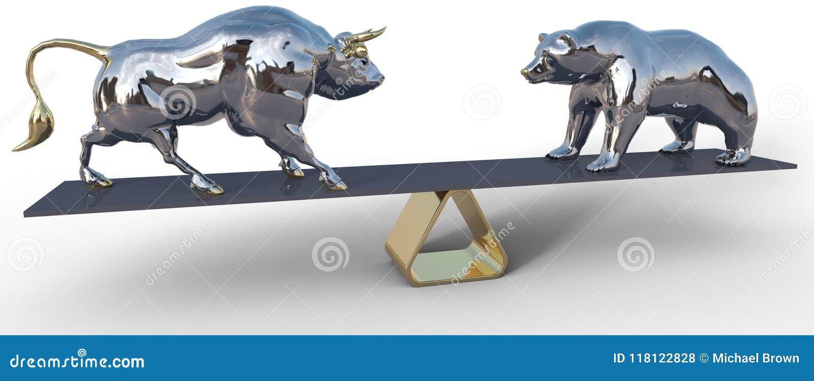 De stier en draagt de symbolen van de effectenbeursschaal