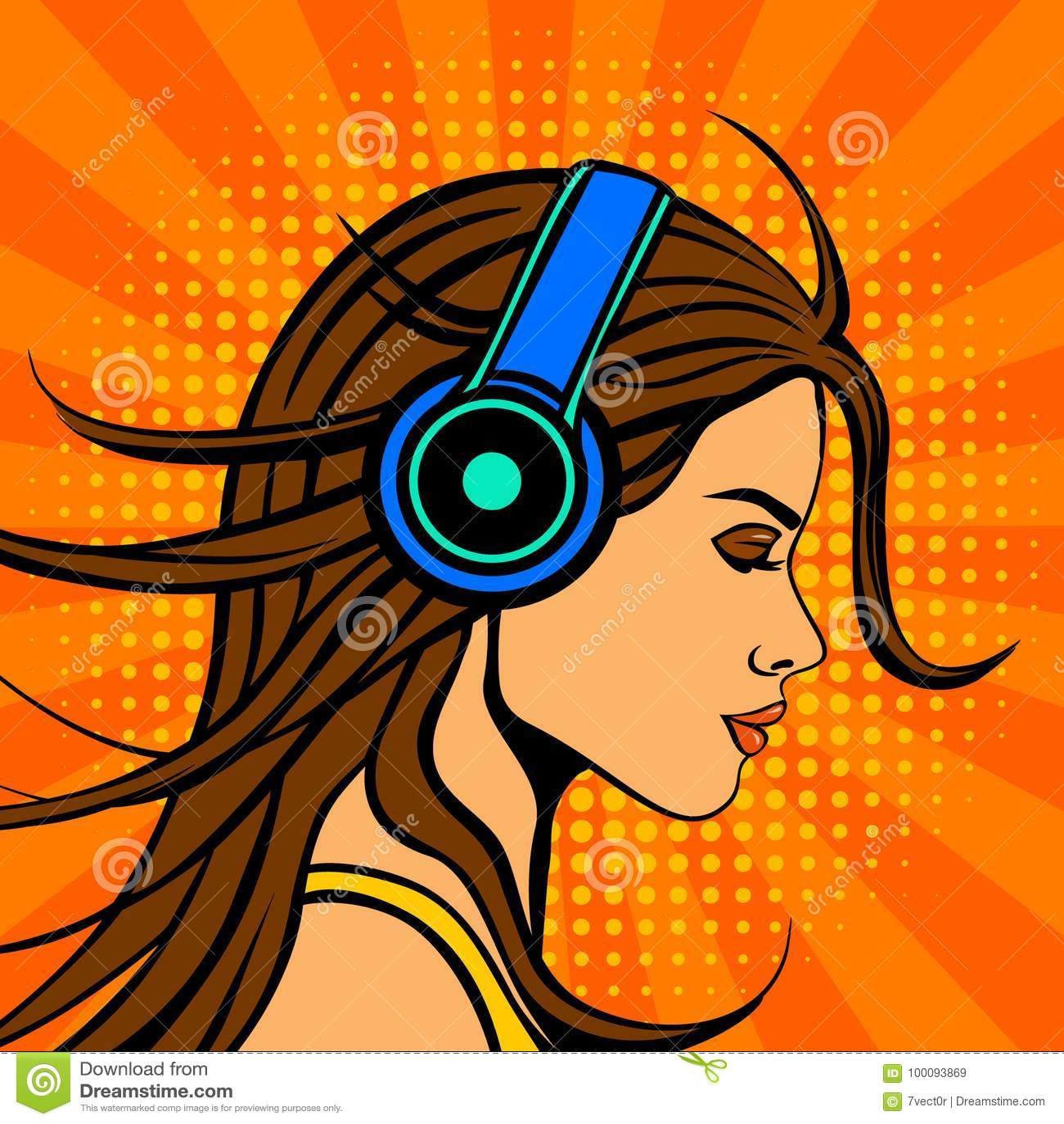 De stijlvrouw van het pop-art grappige boek het luisteren muziek in hoofdtelefoons