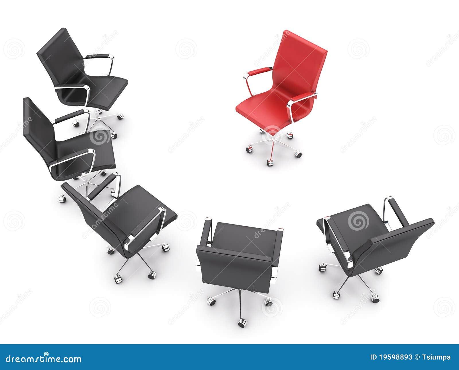 De stoelen van het bureau