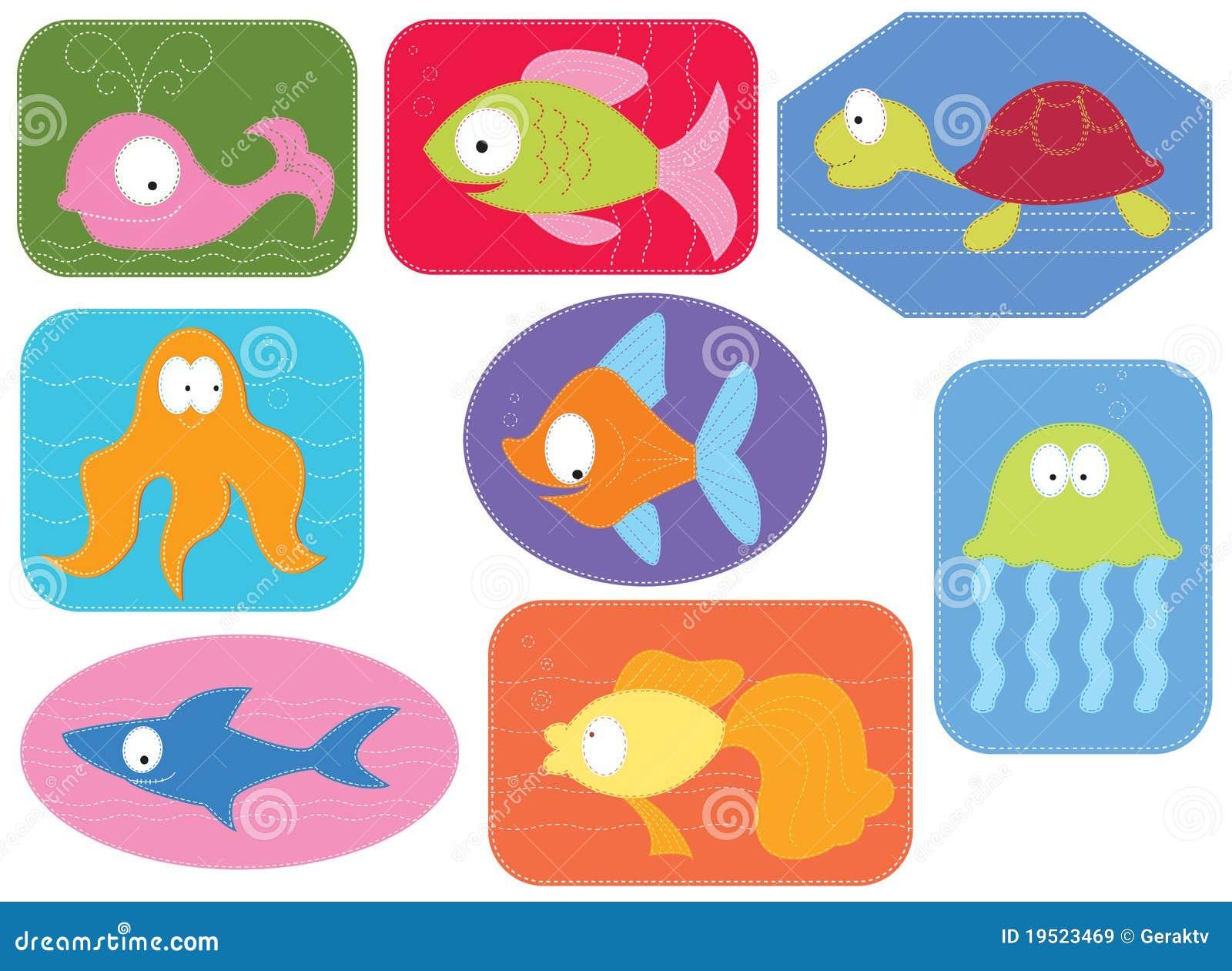 De stof van applique met de dieren van het beeldverhalenwater royalty vrije stock afbeeldingen - Appliques exterieures ontwerp ...