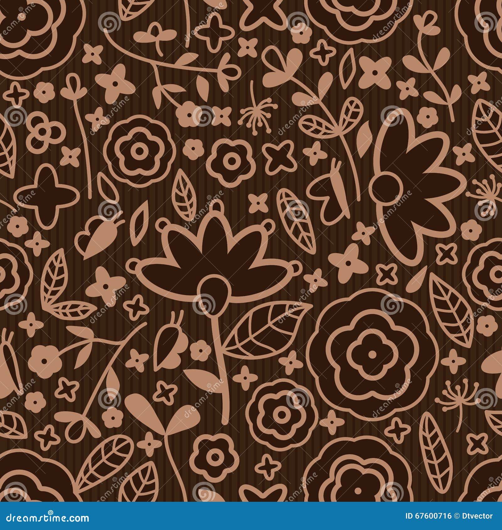 De stoffen naadloos patroon van de bloem bruin kleur