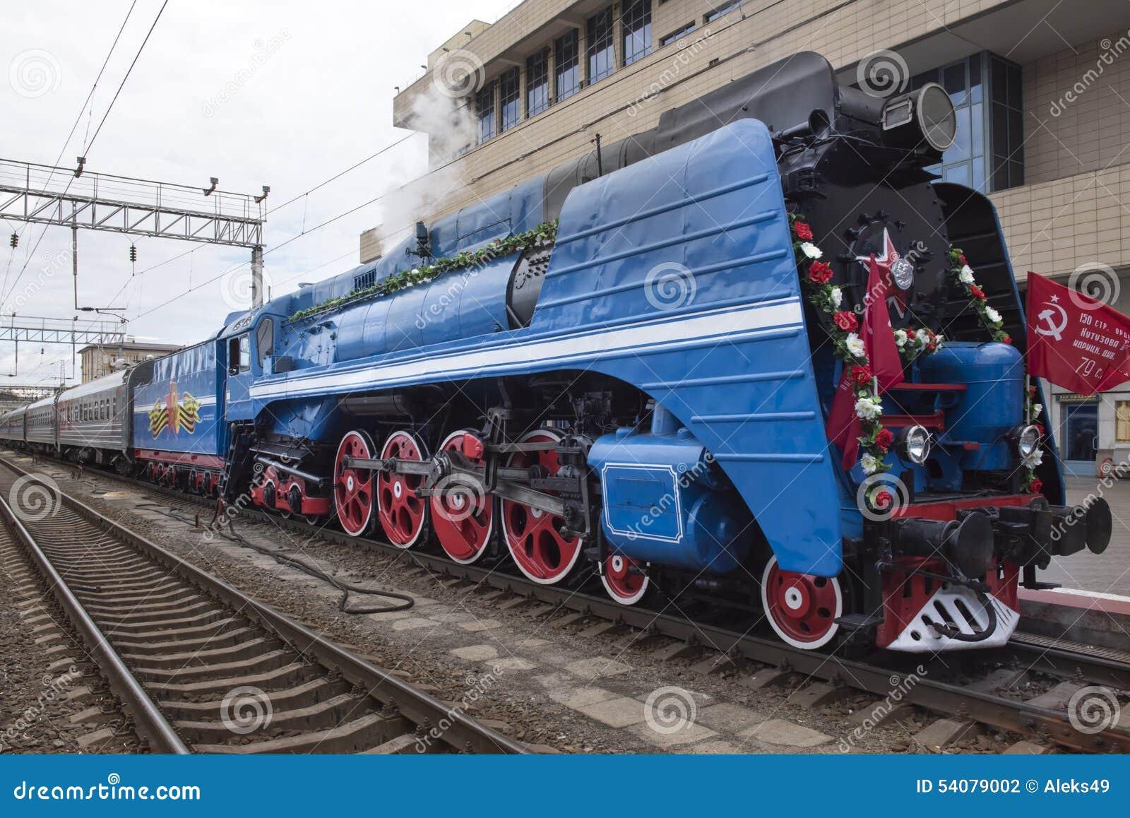 De stoomlocomotief van de sovjet-snelheidspassagier