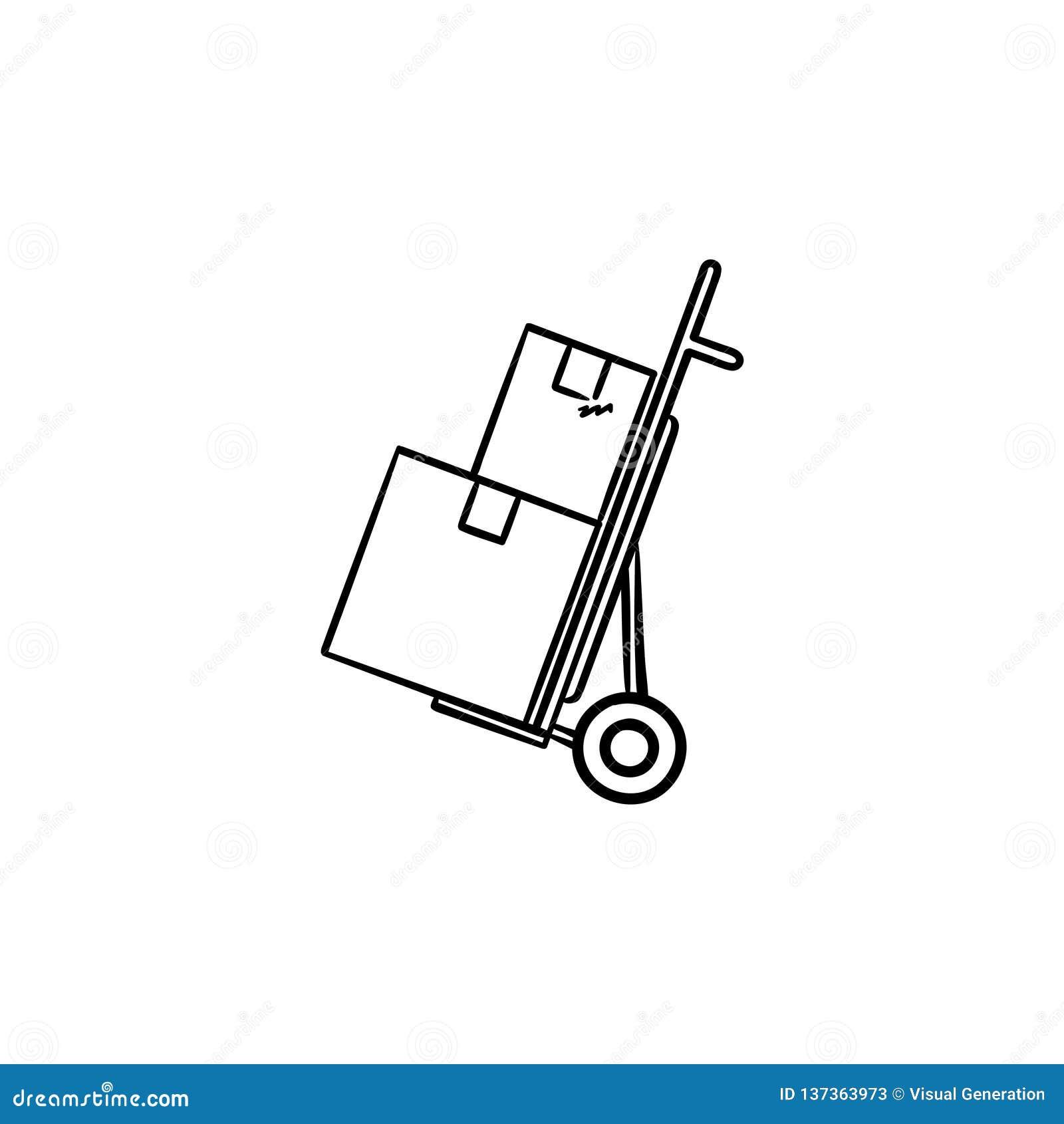 De stootkar met kartondozen overhandigt het getrokken pictogram van de overzichtskrabbel