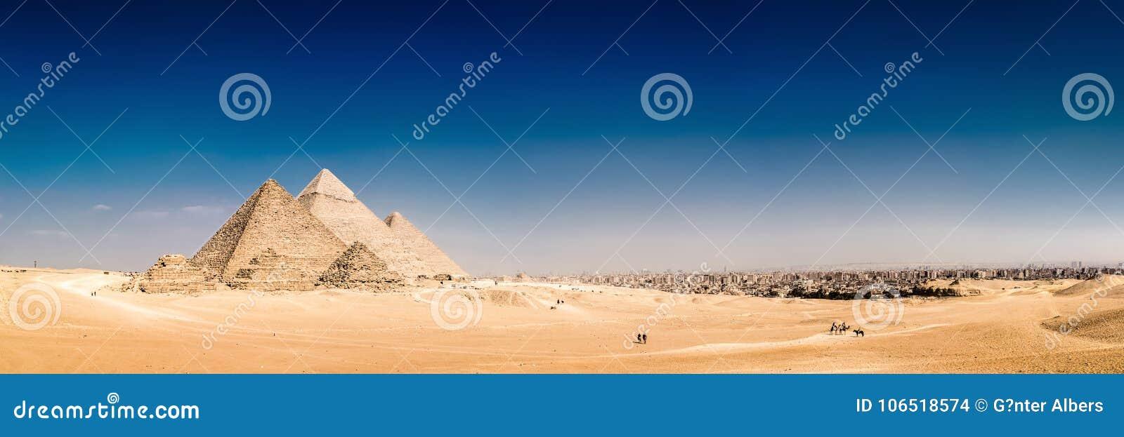 De stora pyramiderna av Giza, Egypten