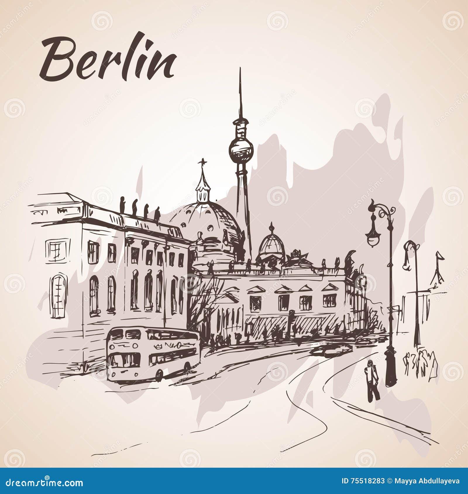 De straat van Berlijn met bussen en de Toren van TV van Berlijn