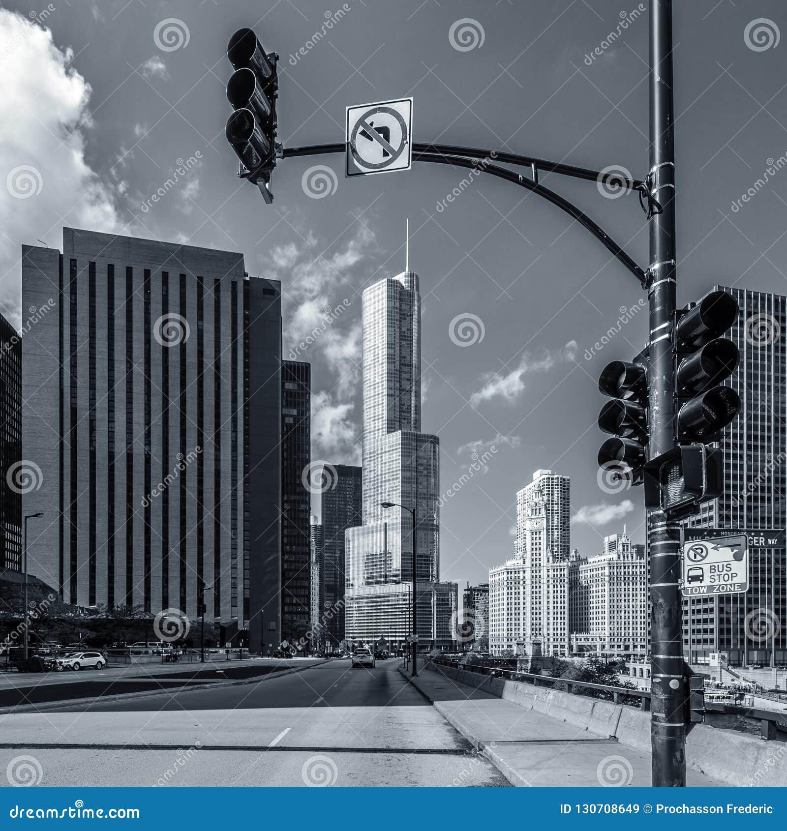 De straat van Chicago blach en wit
