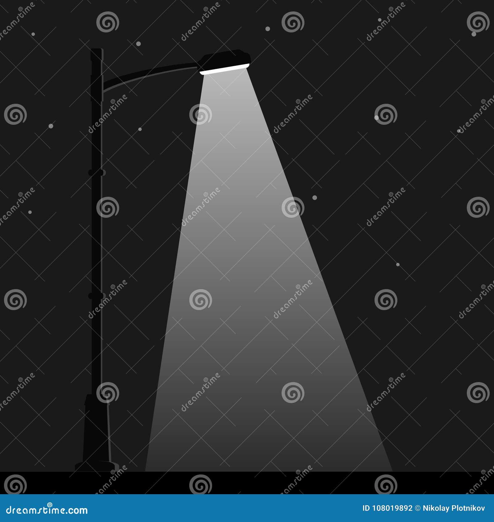 De straatlantaarn van de stadsnacht met licht van straatlantaarnlamp Openluchtlamppost in vlakke stijl Schijnwerper