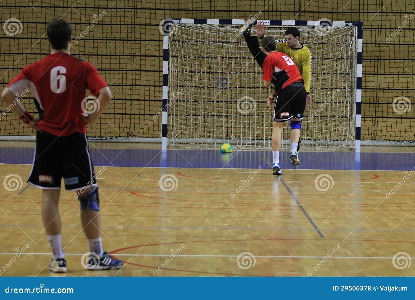 De strafschop van het handbal