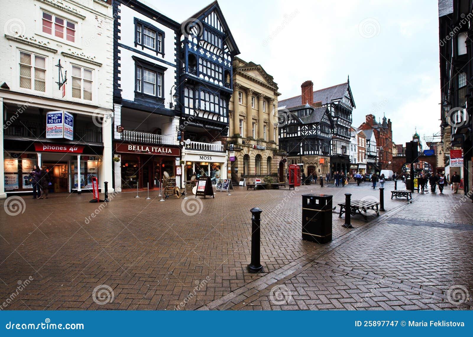 De straten van Chester, het UK