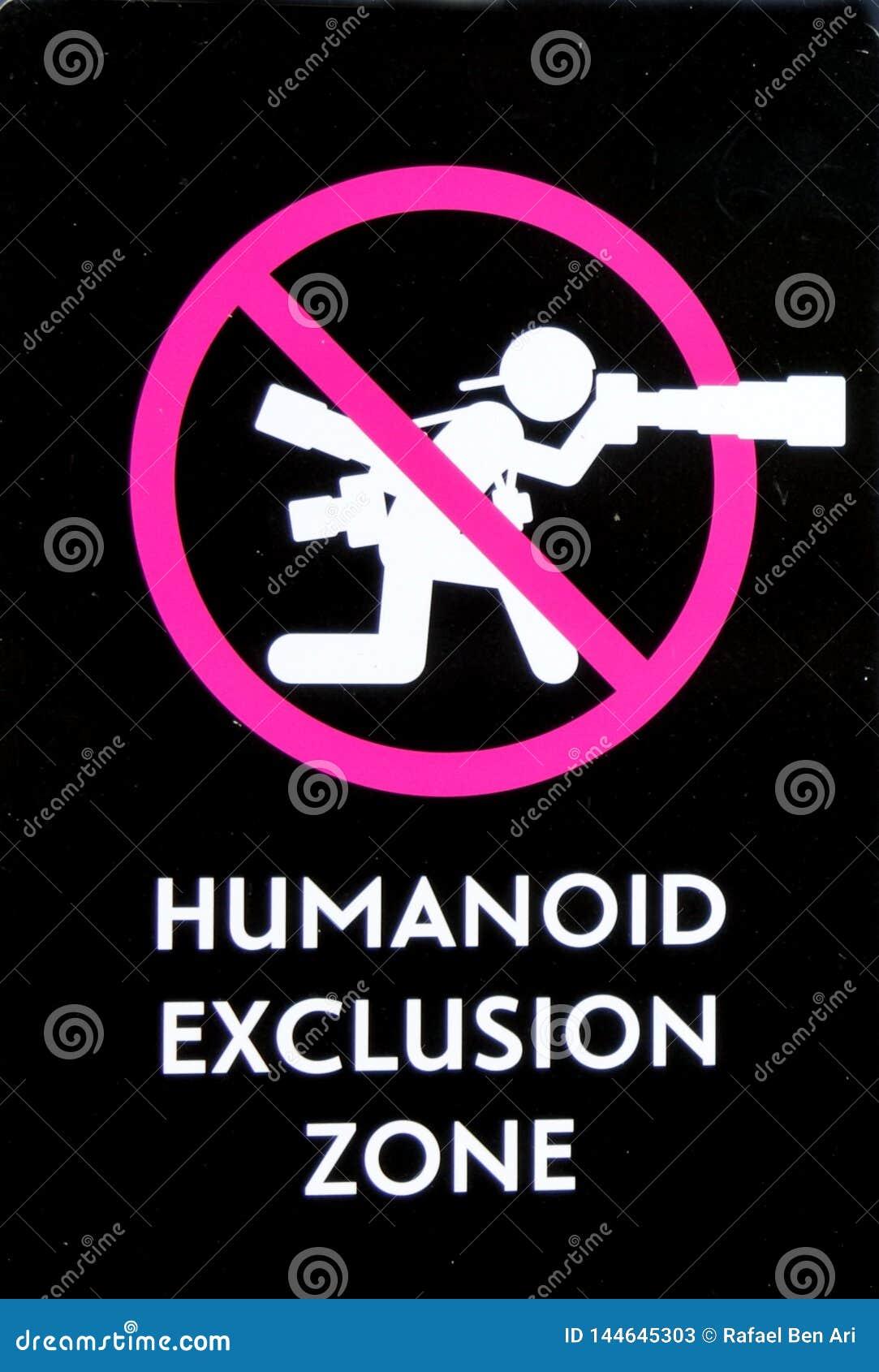 De Streek van de Humanoiduitsluiting ondertekent Geen Fotografie