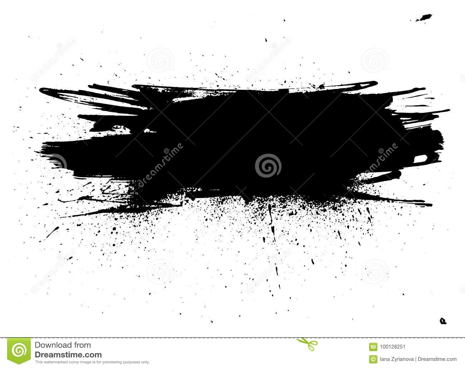 De streep van de Grungeverf Vectorborstelslag Verontruste banner Zwart geïsoleerd penseel