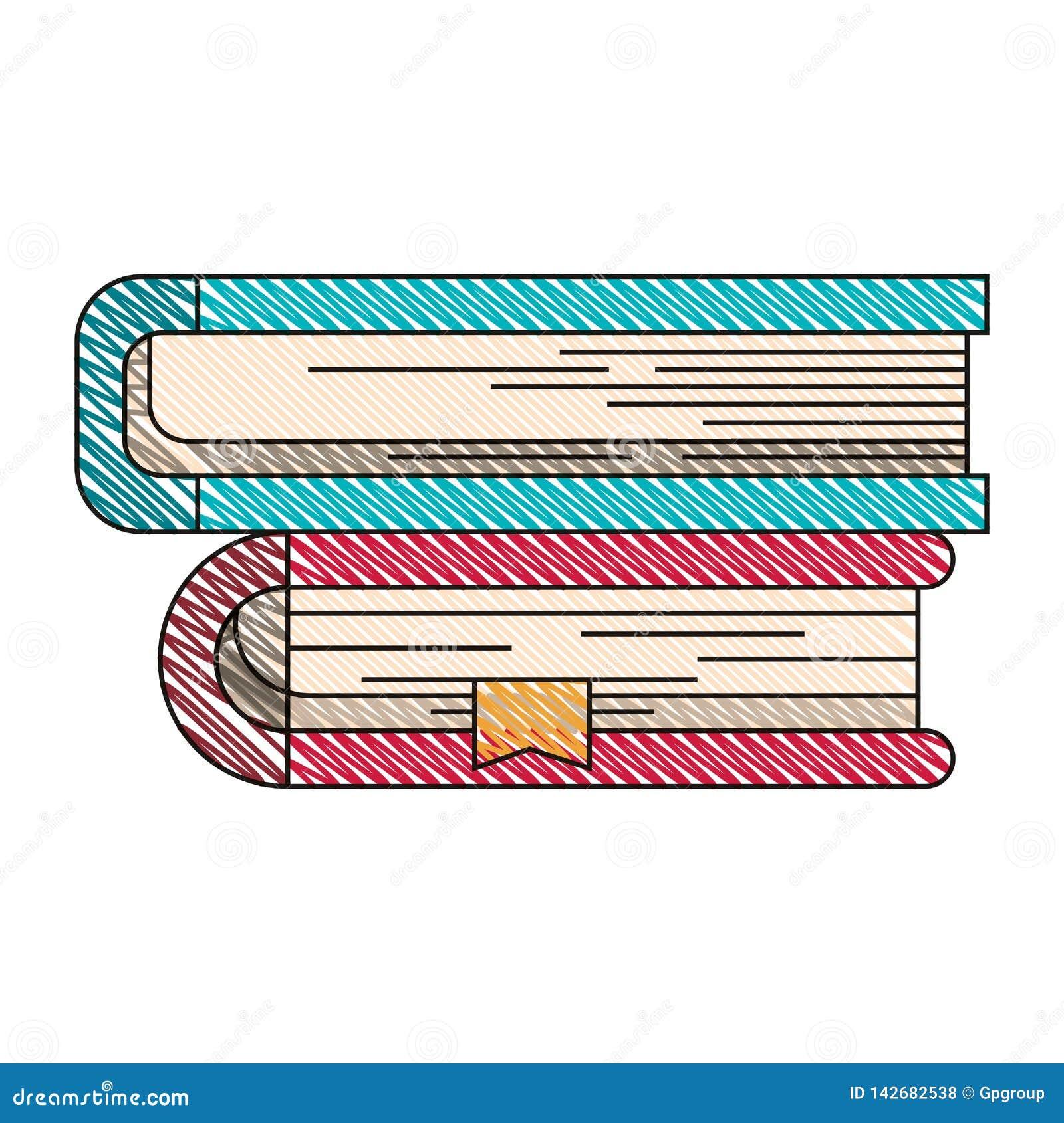 De streepbeeld van het kleurenkleurpotlood van inzameling van boeken met referentie