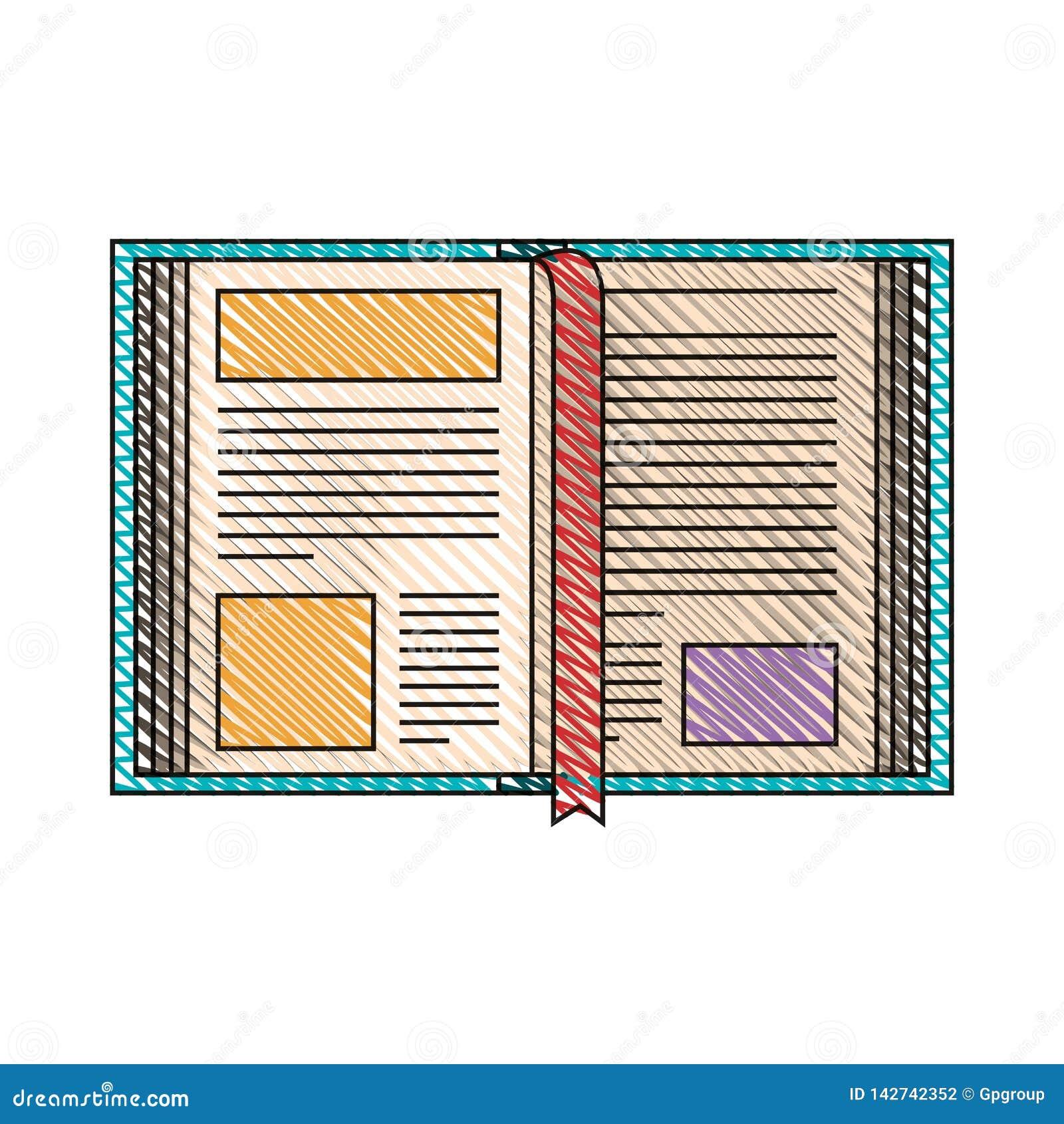 De streepbeeld van het kleurenkleurpotlood van open boek met referentie