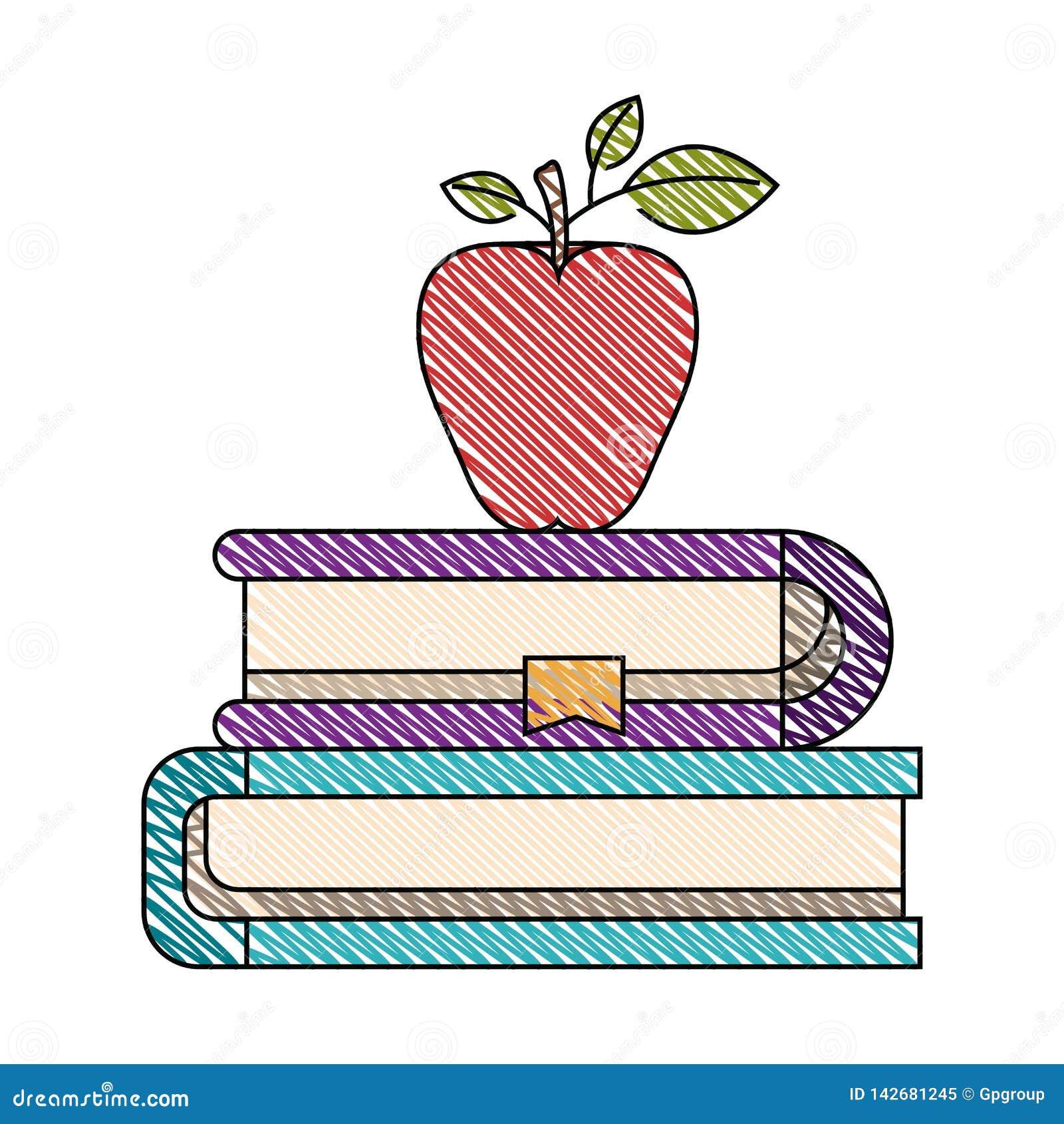 De streepbeeld van het kleurenkleurpotlood van paar boeken met referentie en appel