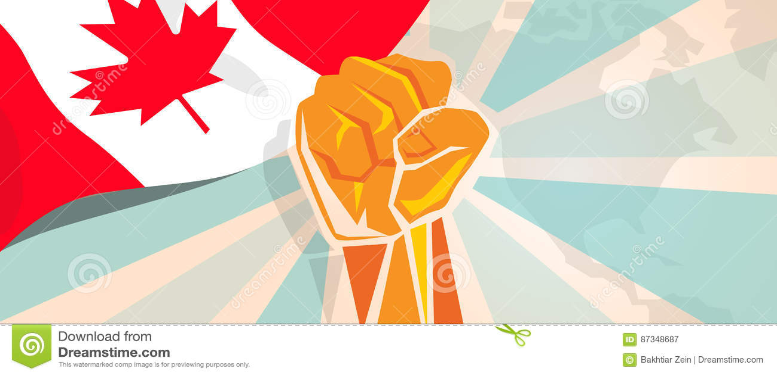 De strijd van Canada en de de strijdopstand van de protestonafhankelijkheid tonen symbolische sterkte met de illustratie en de vl