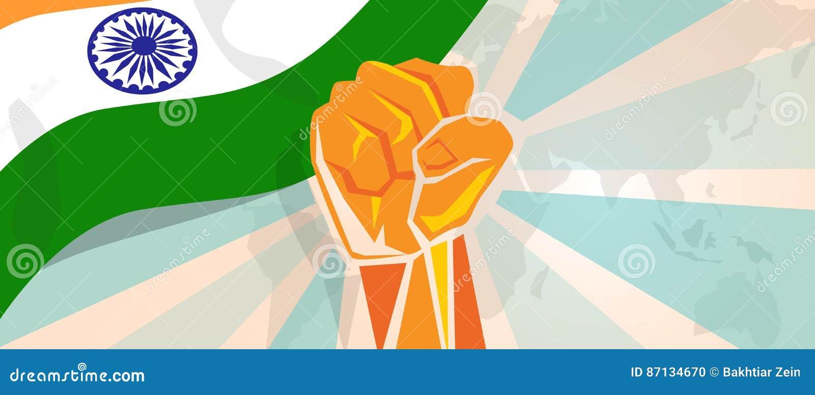 De strijd van India en de de strijdopstand van de protestonafhankelijkheid tonen symbolische sterkte met de illustratie en de vla