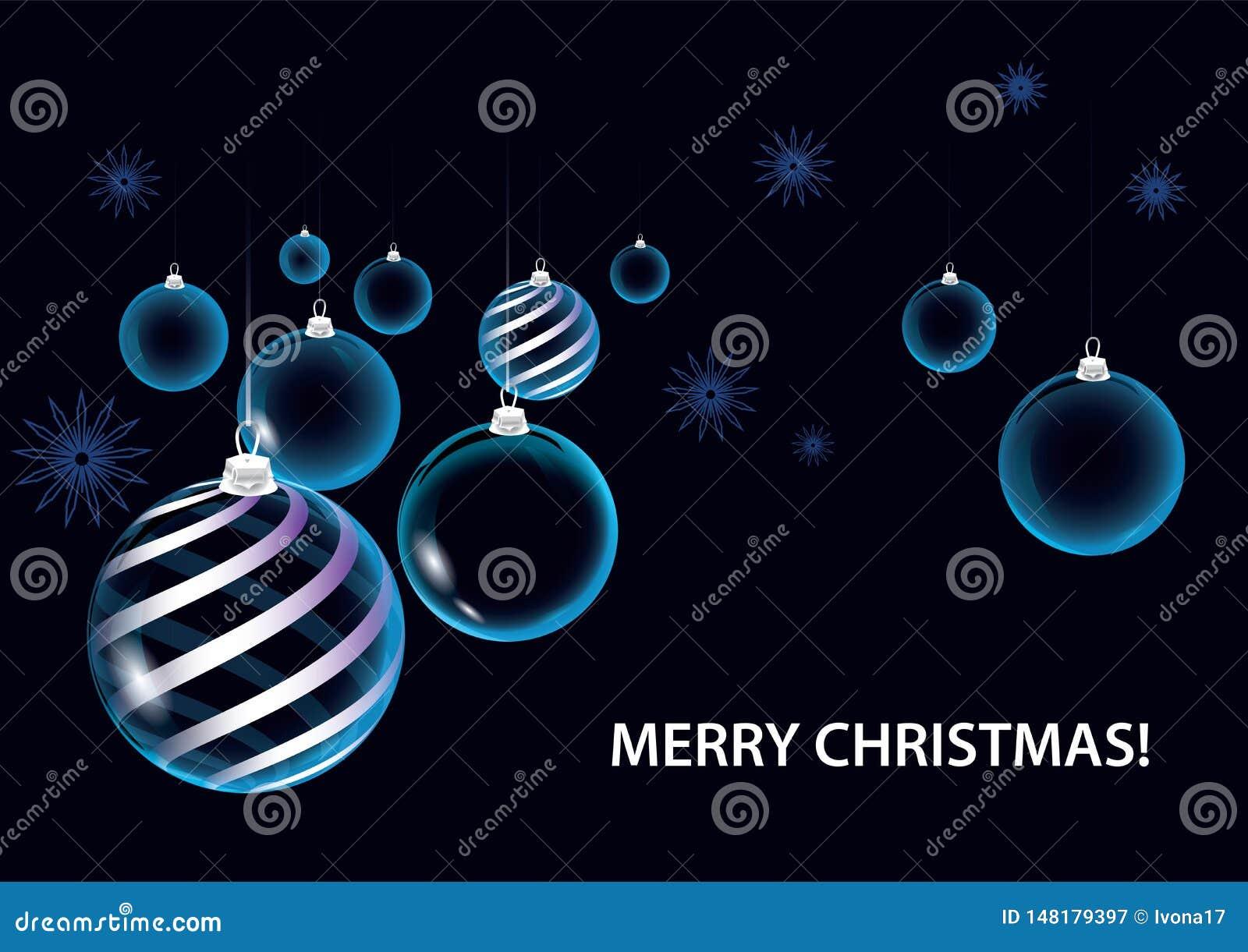 De strikte donkerblauwe ballen van de Kerstmis vectorkaart