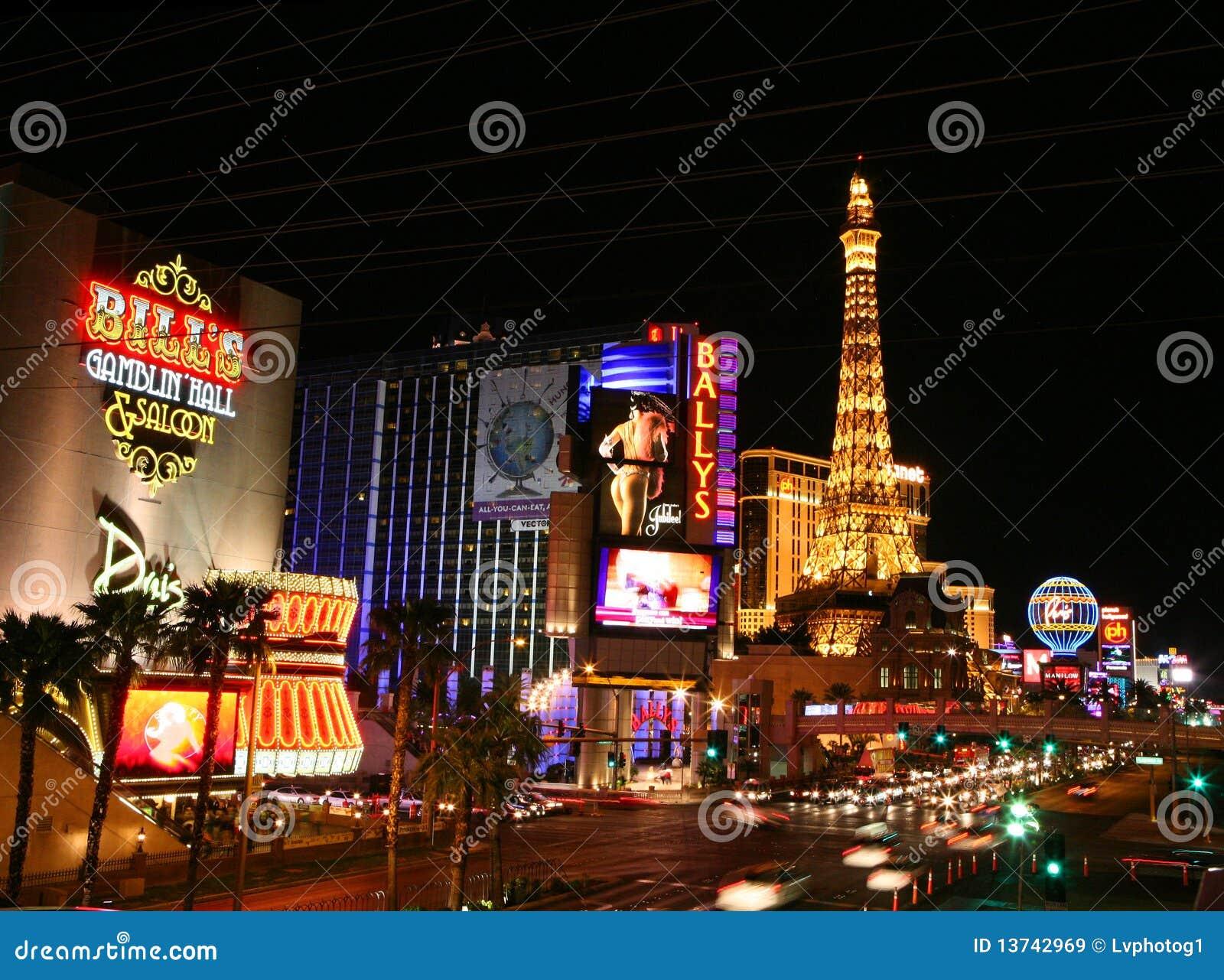 De Strook van Vegas van Las bij horizontale nacht,