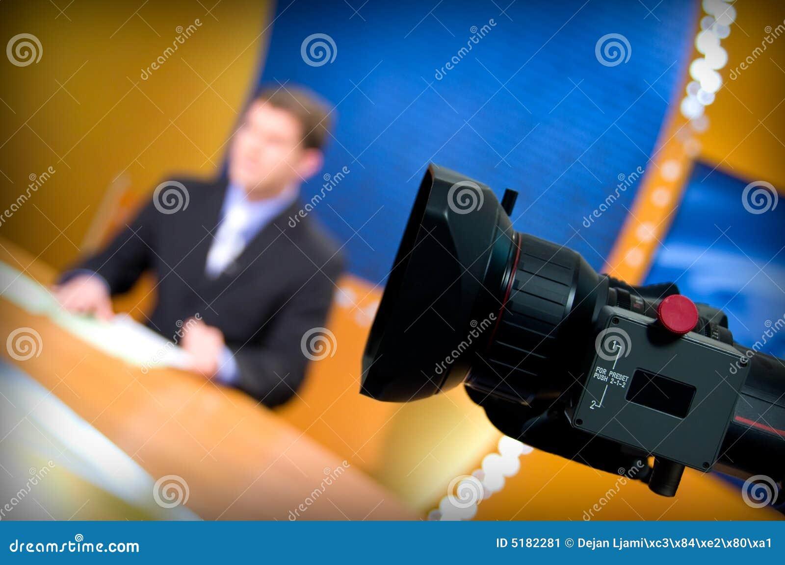 De studio van TV voor nieuws