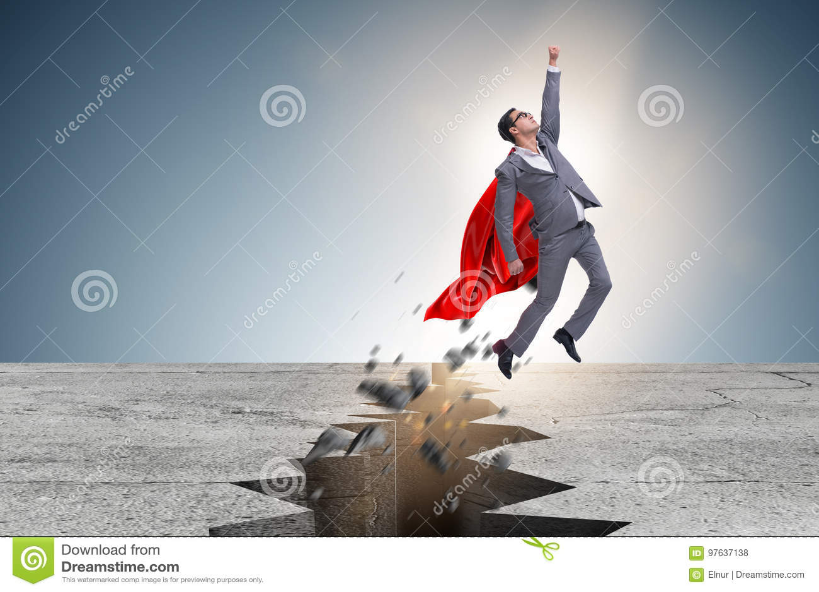 De superherozakenman die van moeilijke situatie ontsnappen